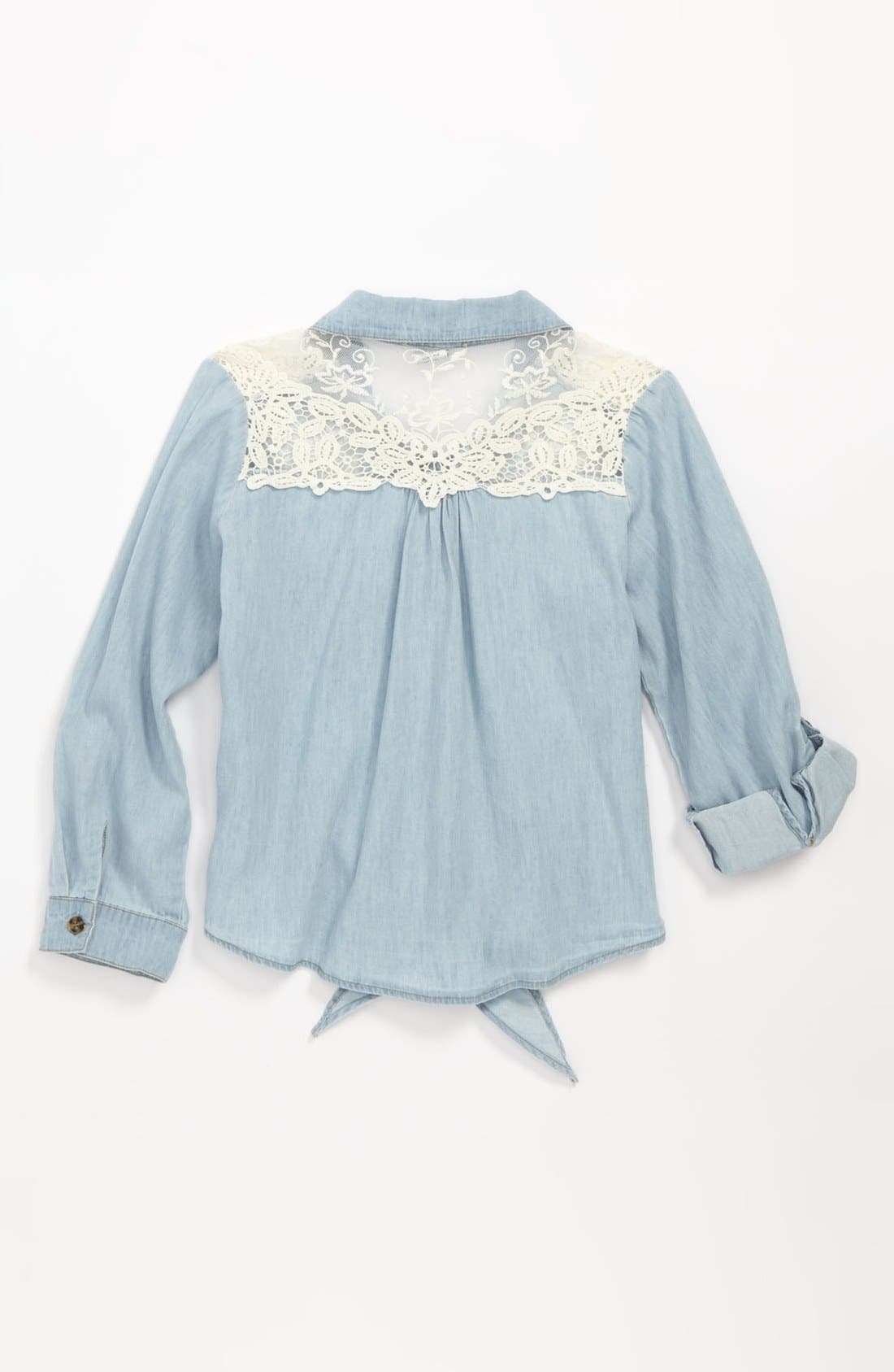 Alternate Image 2  - Mia Chica Lace Shoulder Top (Big Girls)