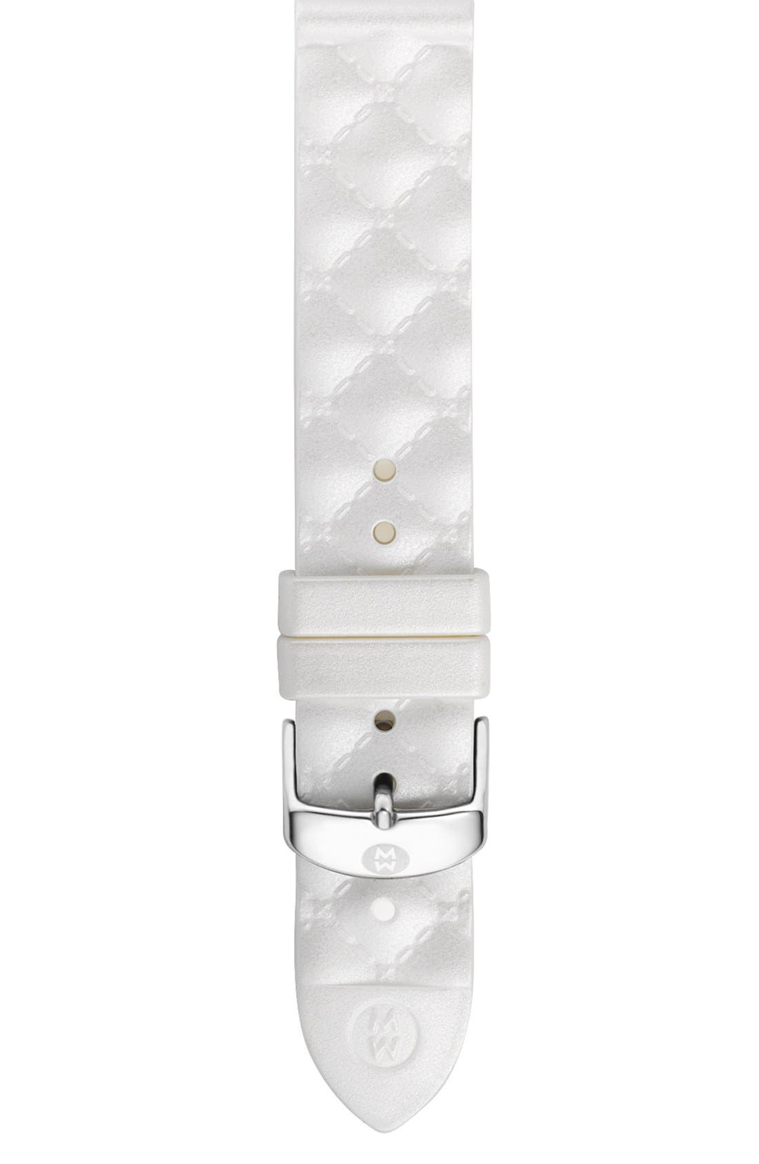 Main Image - MICHELE 18mm Quilted Glitter Silicone Watch Strap