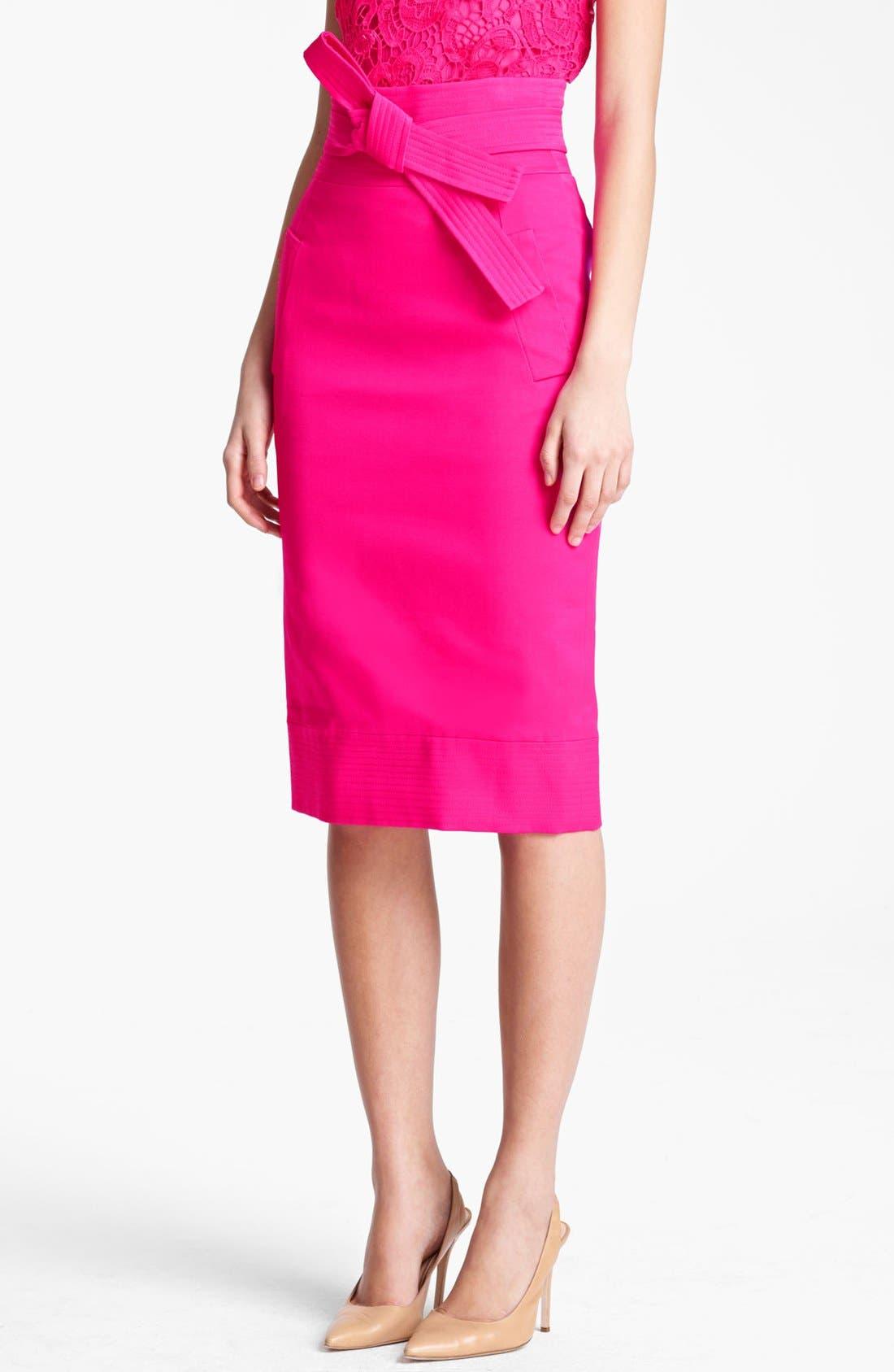 Main Image - Oscar de la Renta High Waist Tie Front Skirt