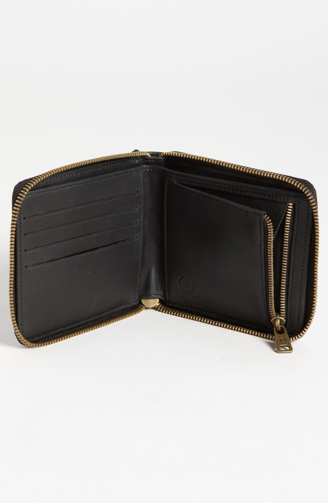 McQ by Alexander McQueen 'Aztec' Embossed Zip Around Wallet,                             Alternate thumbnail 2, color,                             Black