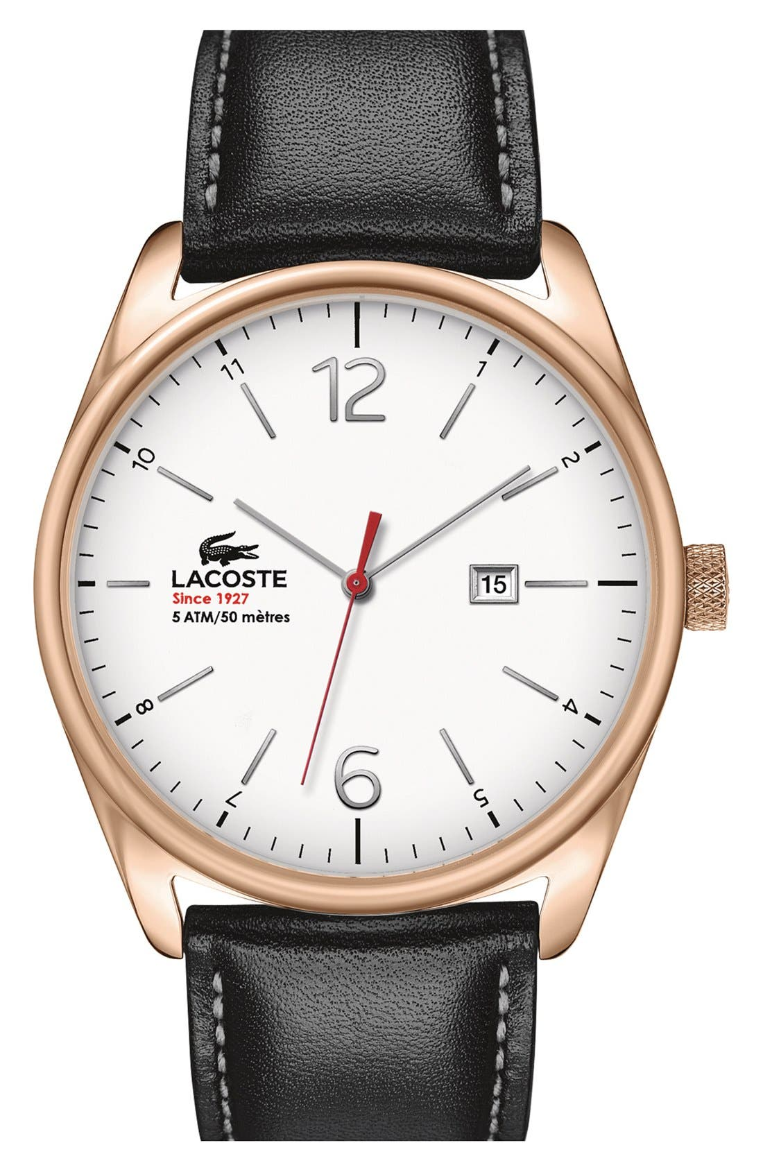 Main Image - Lacoste 'Austin' Leather Strap Watch, 44mm