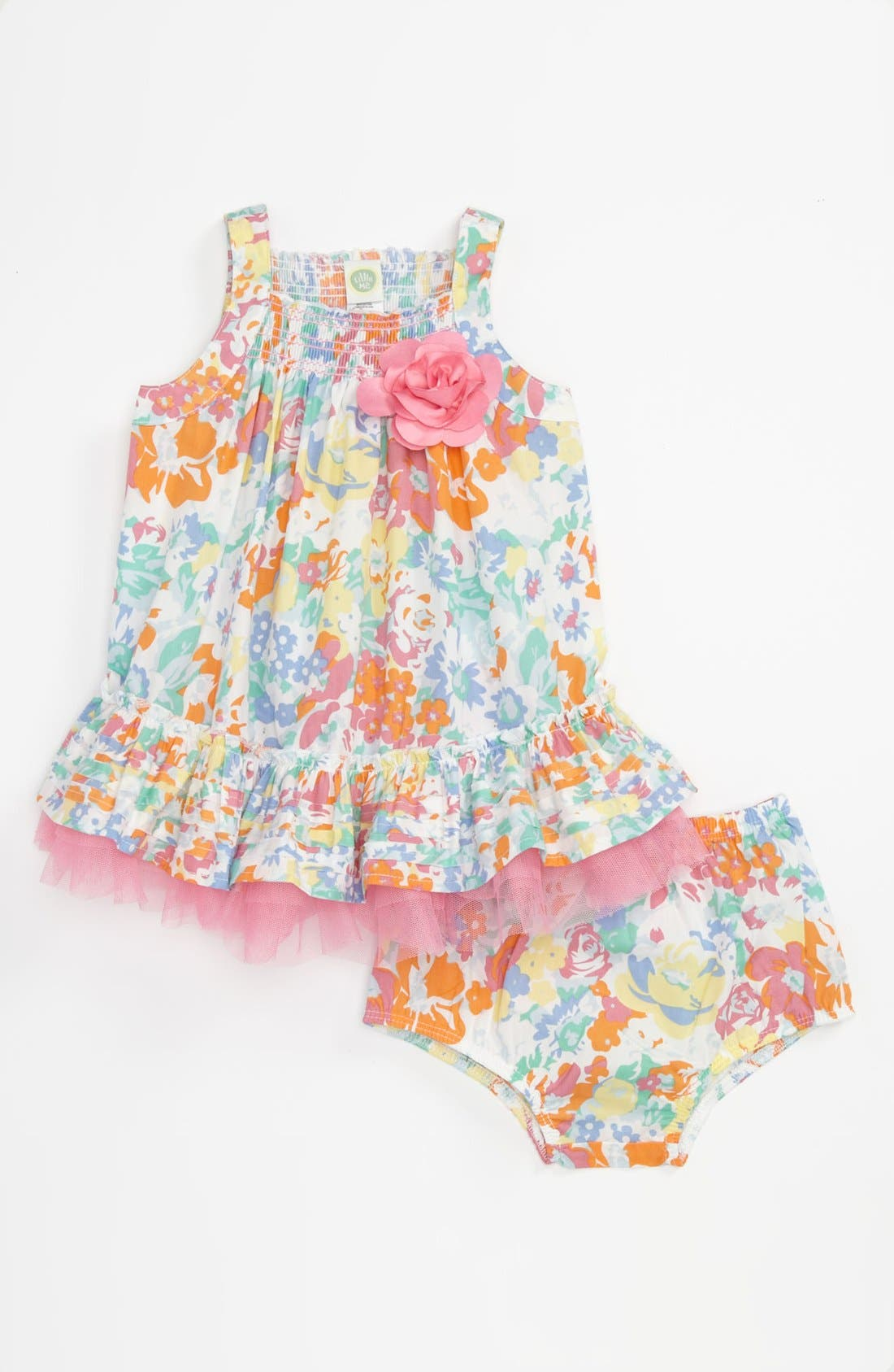 Main Image - Little Me Woven Dress & Bloomers (Baby)