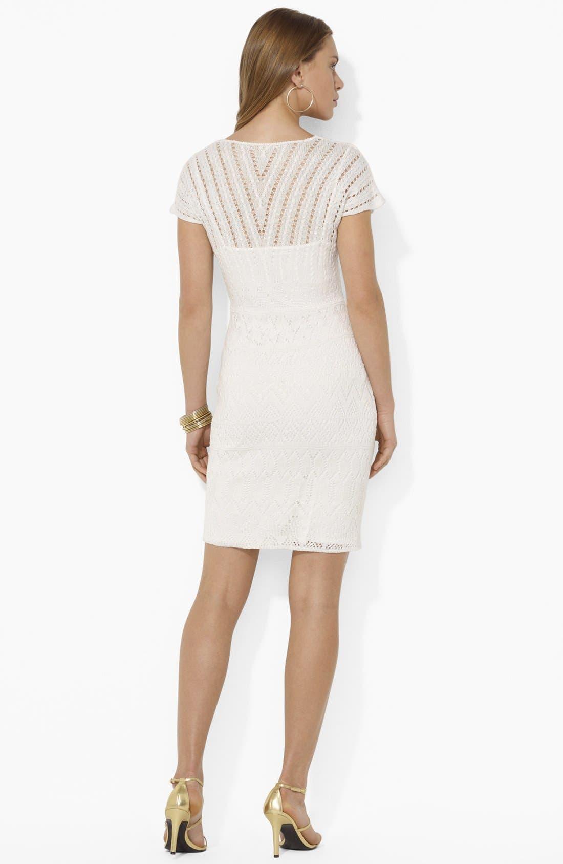 Alternate Image 2  - Lauren Ralph Lauren V-Neck Pointelle Dress