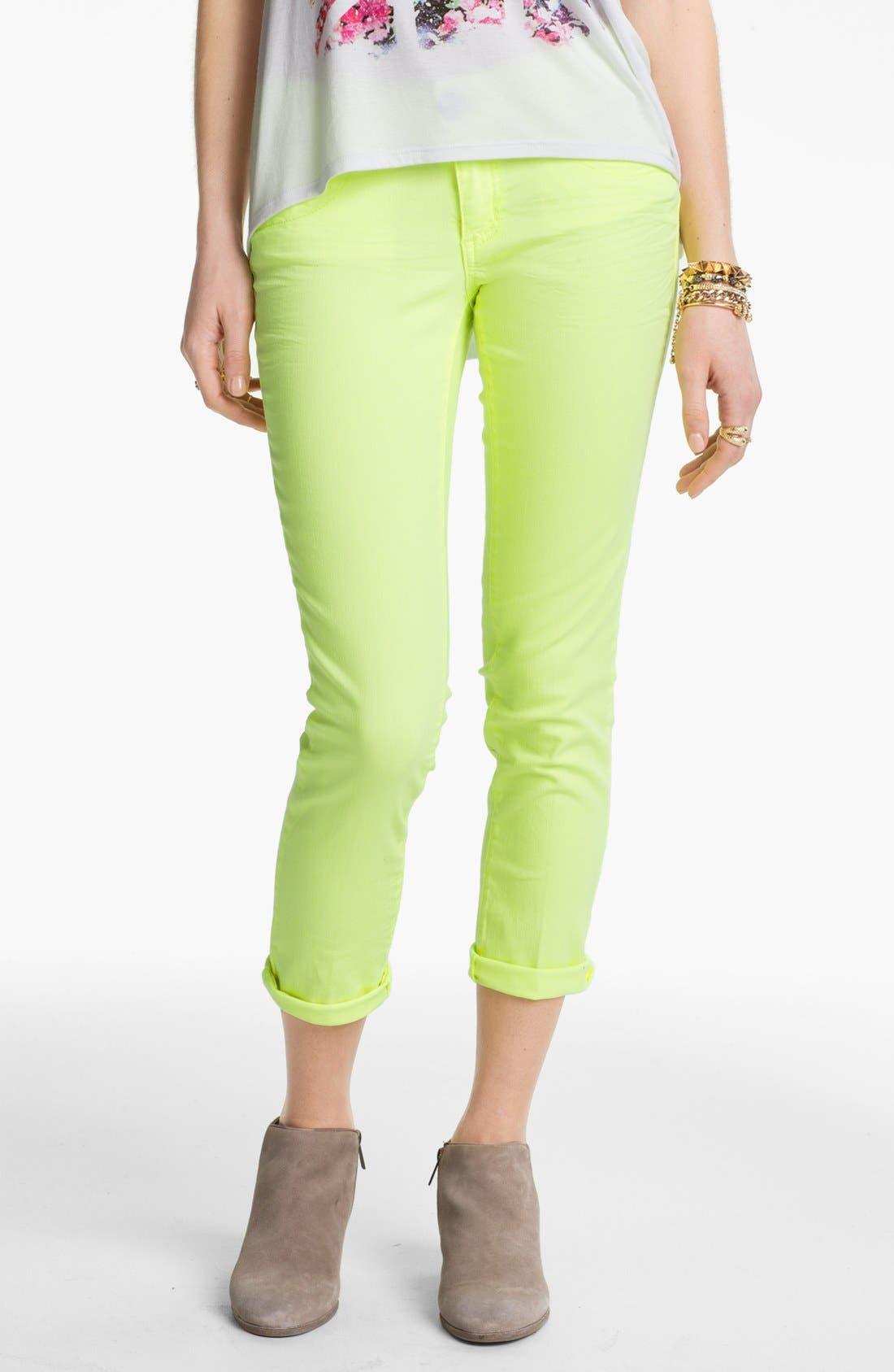 Main Image - Jolt Colored Crop Skinny Jeans (Juniors)