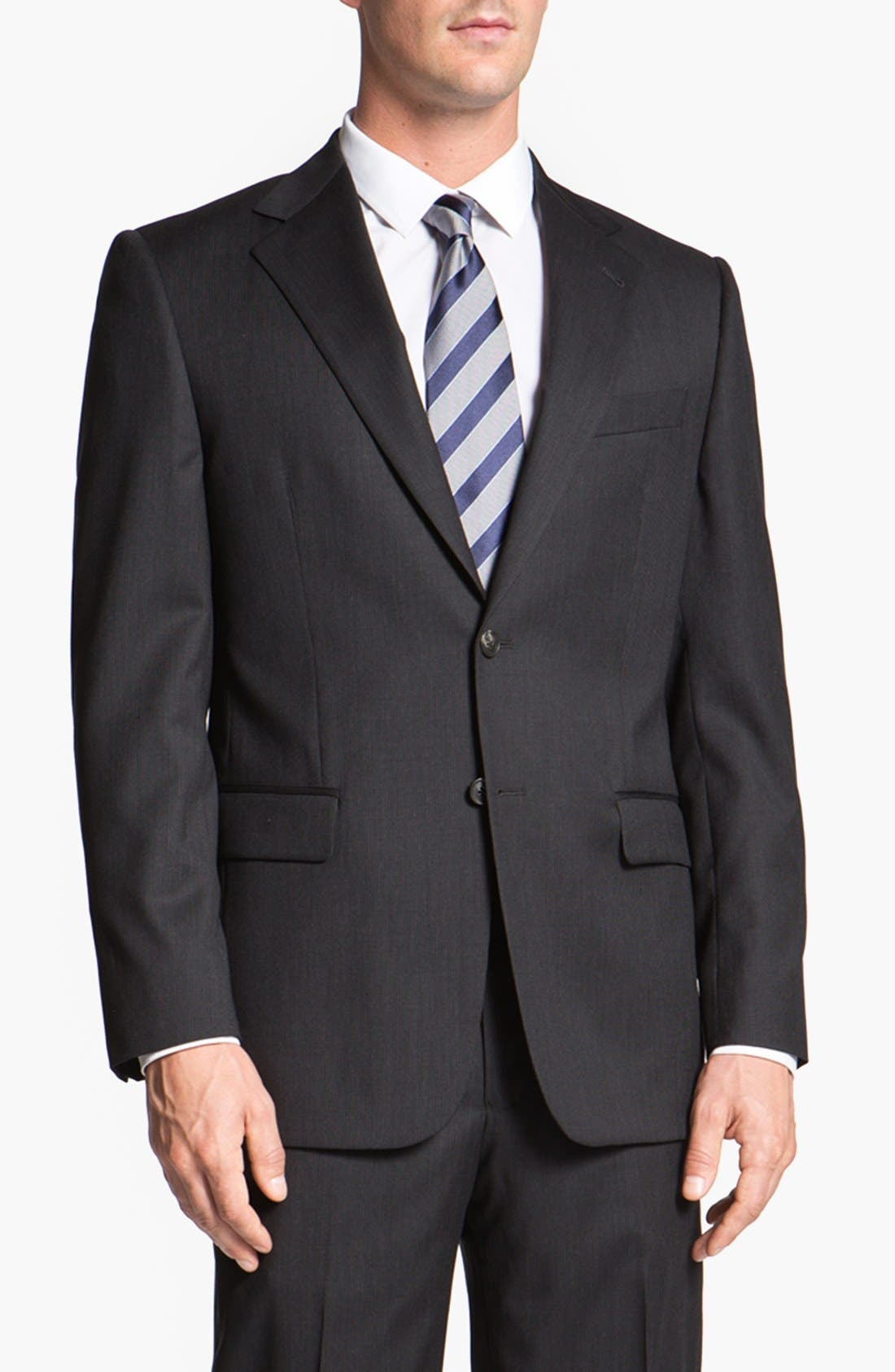 Main Image - Joseph Abboud 'Signature Silver' Stripe Wool Suit (Online Only)