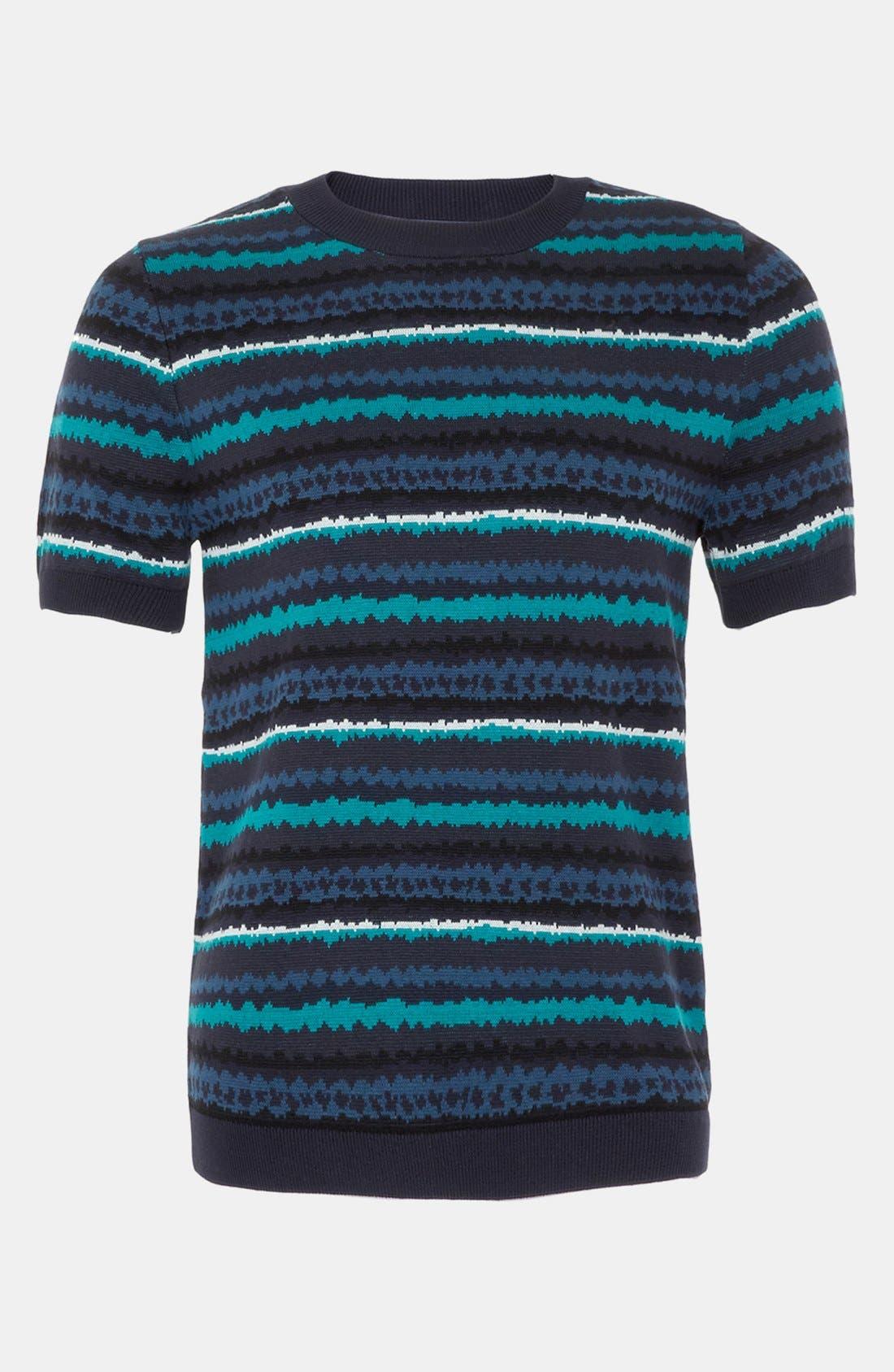 Main Image - Topman 'Static' Short Sleeve Sweater