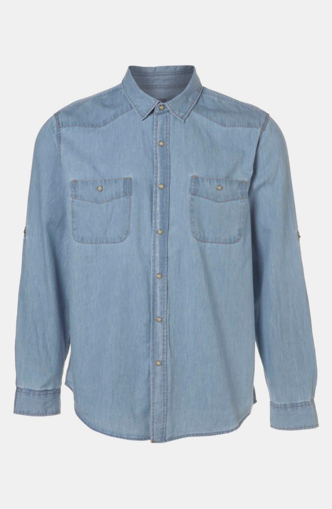 Alternate Image 1 Selected - Topman Denim Western Shirt