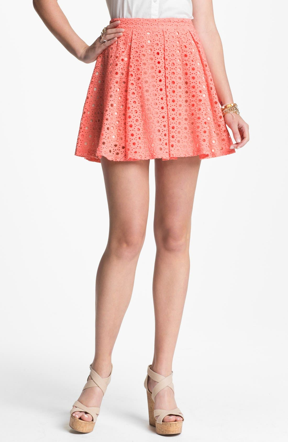 Alternate Image 1 Selected - Lush Eyelet Skater Skirt (Juniors)(Online Exclusive)