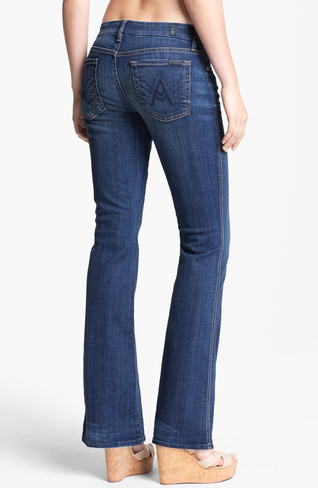 Alternate Image 2  - 7 For All Mankind® 'Lexie A' Jeans (Washed Medium Indigo) (Petite)