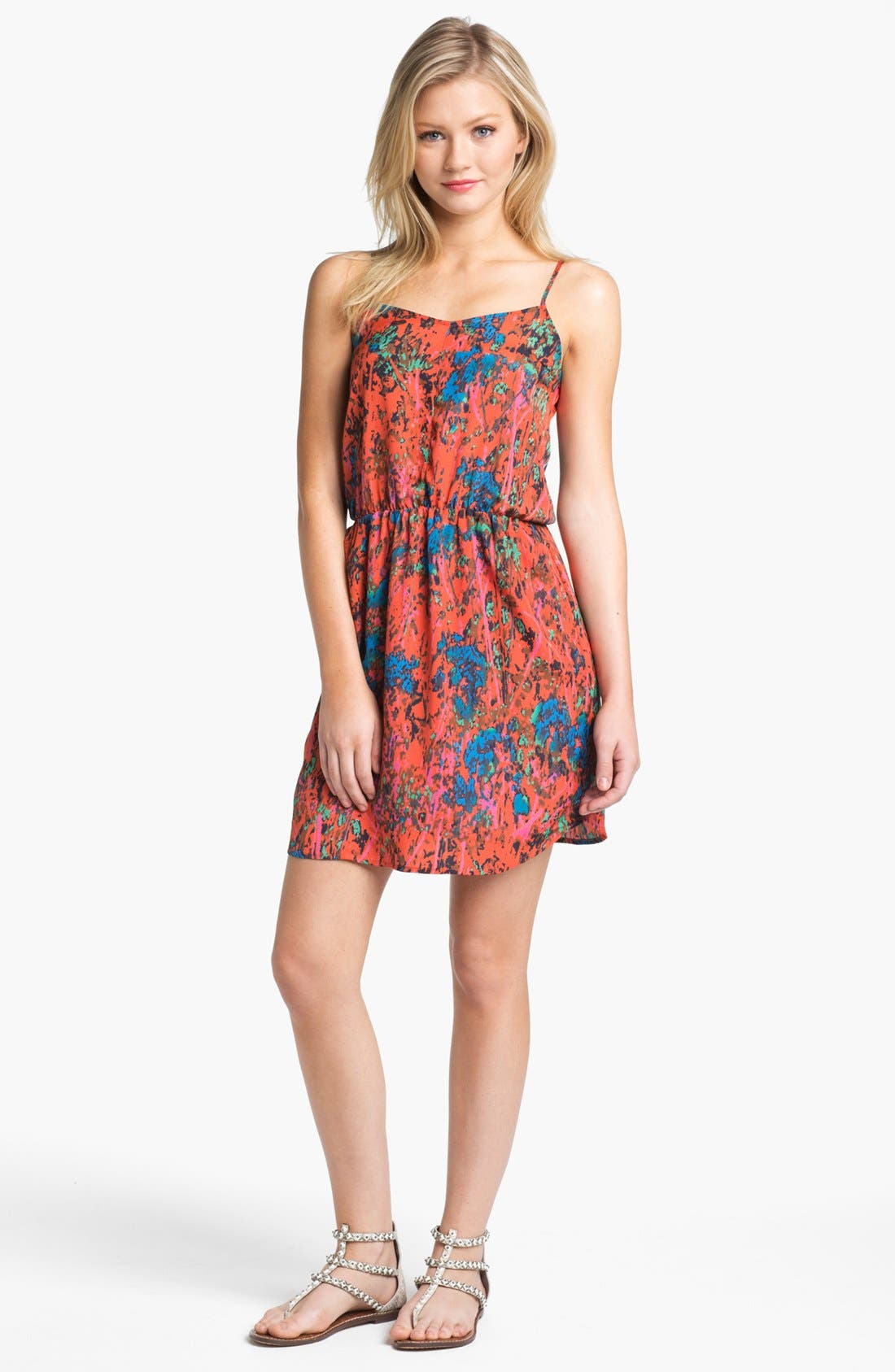 Alternate Image 1 Selected - Collective Concepts Print Gathered Slip Dress