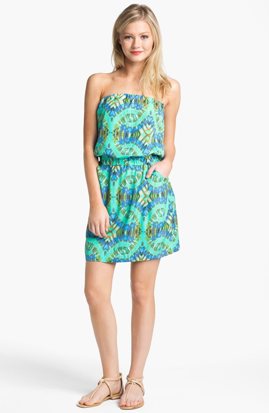 Alternate Image 1 Selected - Collective Concepts Strapless Print Blouson Dress