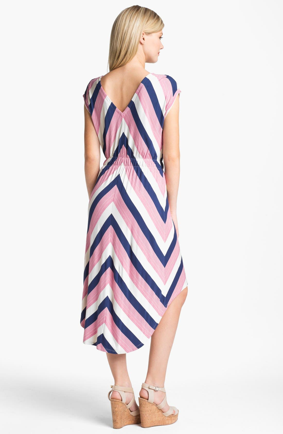 Stripe High/Low Midi Dress,                             Alternate thumbnail 2, color,                             Navy Pink And Oatmeal