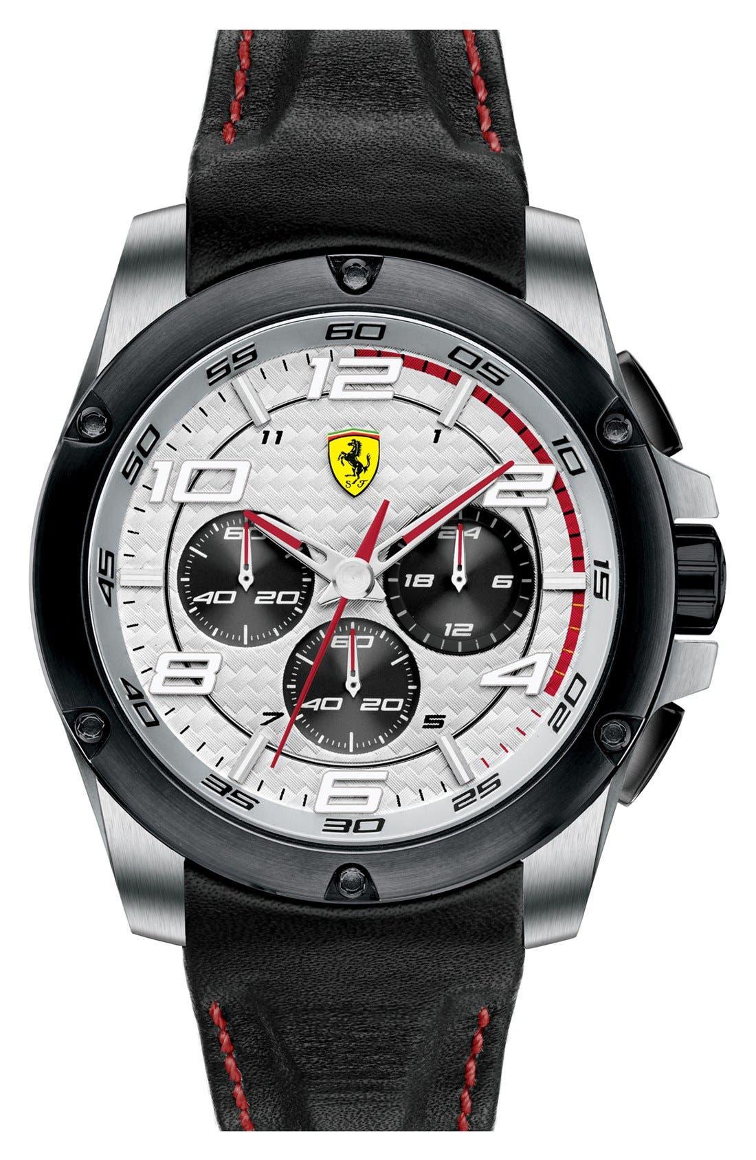 Main Image - Scuderia Ferrari 'Paddock' Chronograph Leather Strap Watch, 46mm