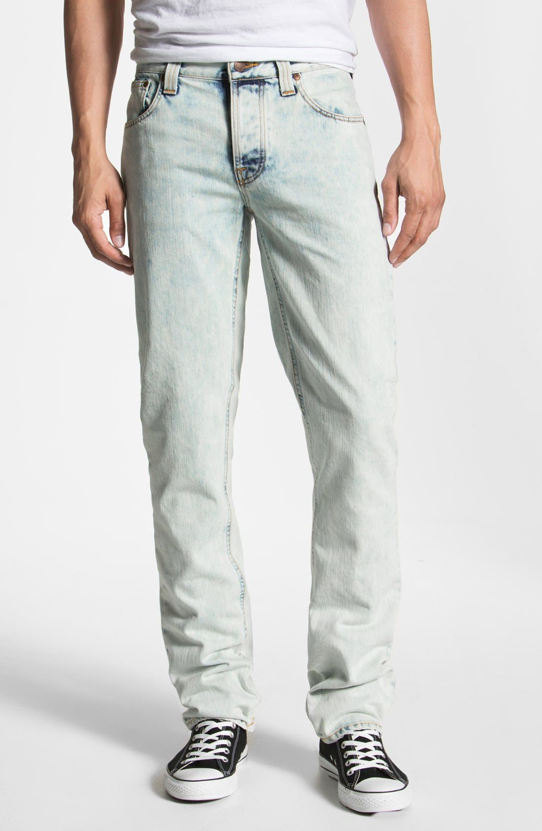 Alternate Image 2  - Nudie 'Grim Tim' Skinny Straight Leg Jeans (Organic Bleach Depot)