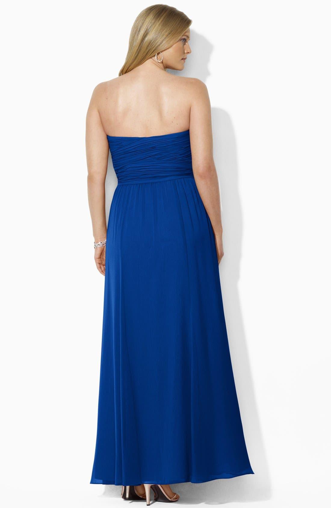 Alternate Image 3  - Lauren Ralph Lauren Strapless Georgette Gown (Plus Size)