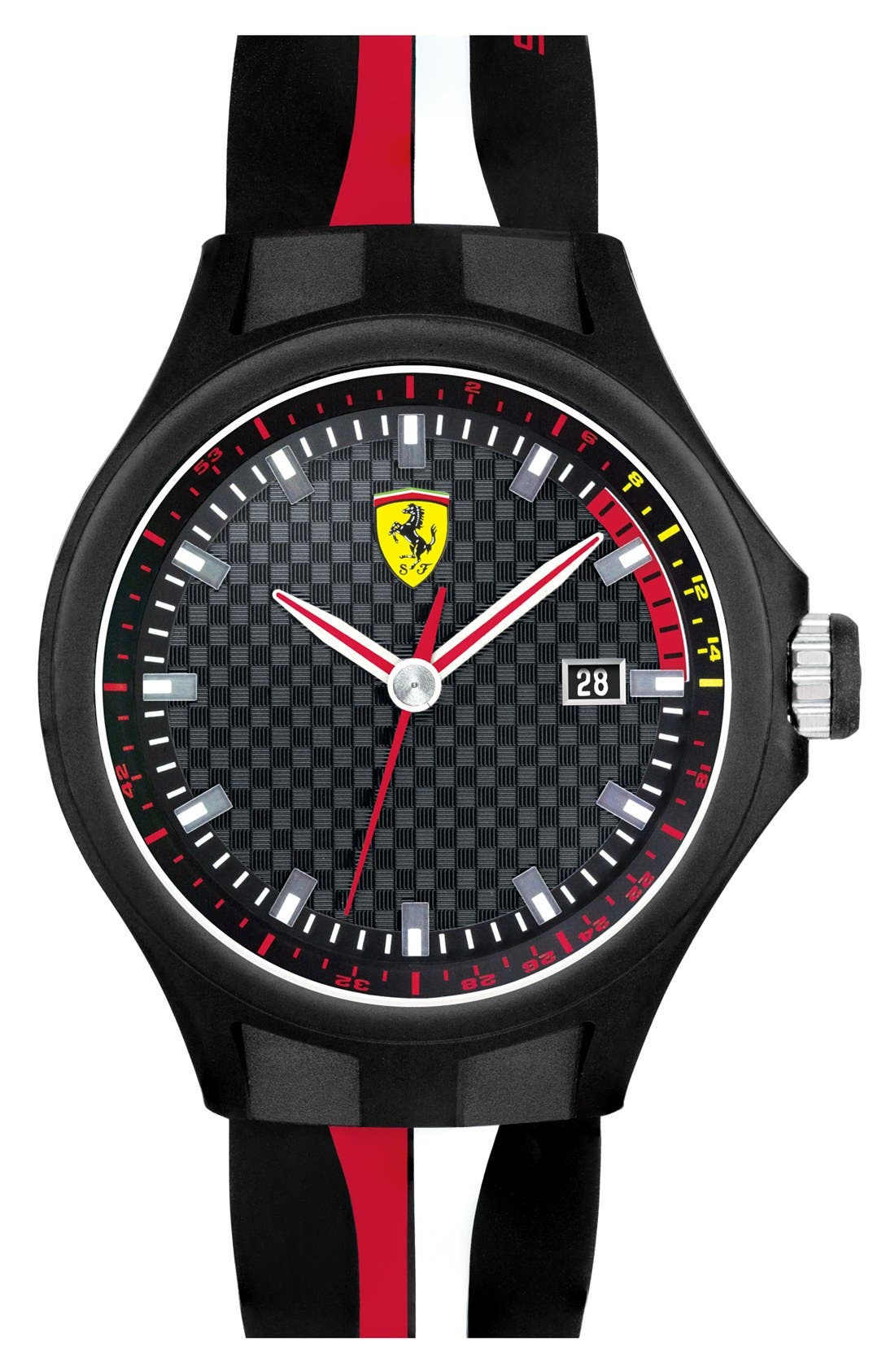 'Pit Crew' Silicone Strap Watch, 44mm,                         Main,                         color, Black/ Red/ White