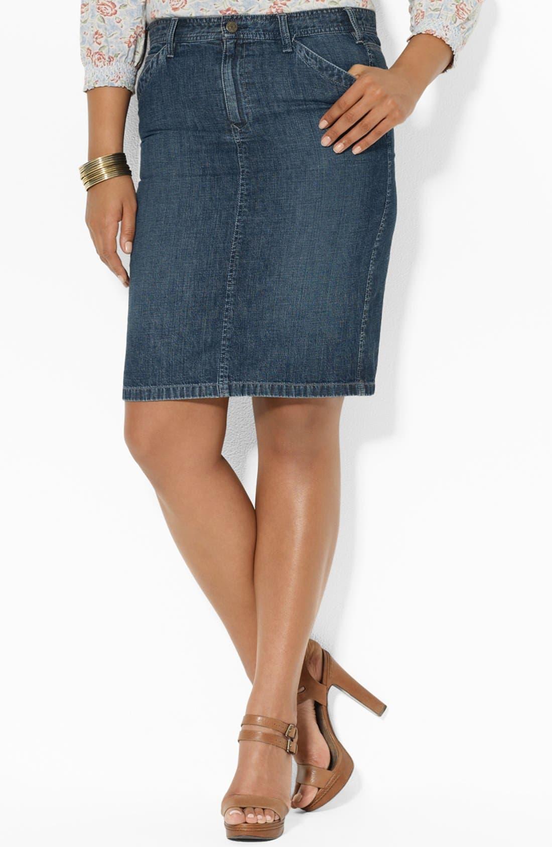 Main Image - Lauren Ralph Lauren Straight Denim Skirt (Plus Size)