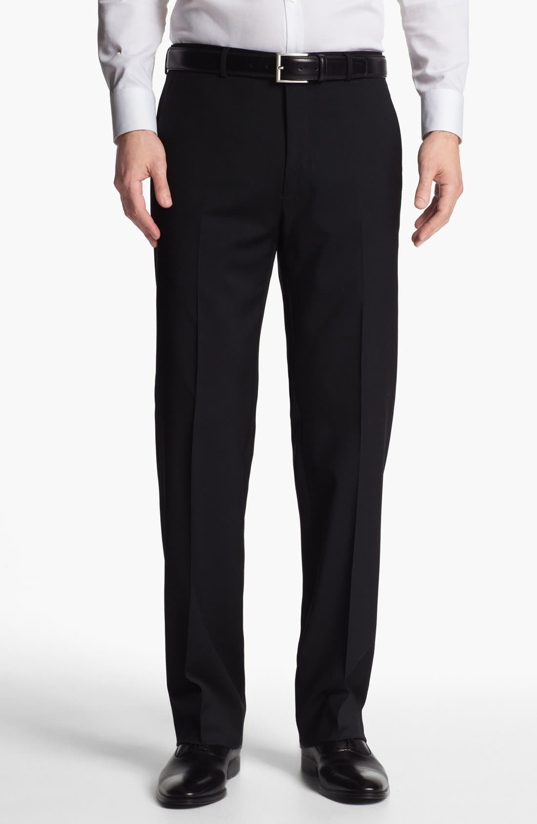 Main Image - John Varvatos Star USA 'Thompson' Black Flat Front Wool Trousers