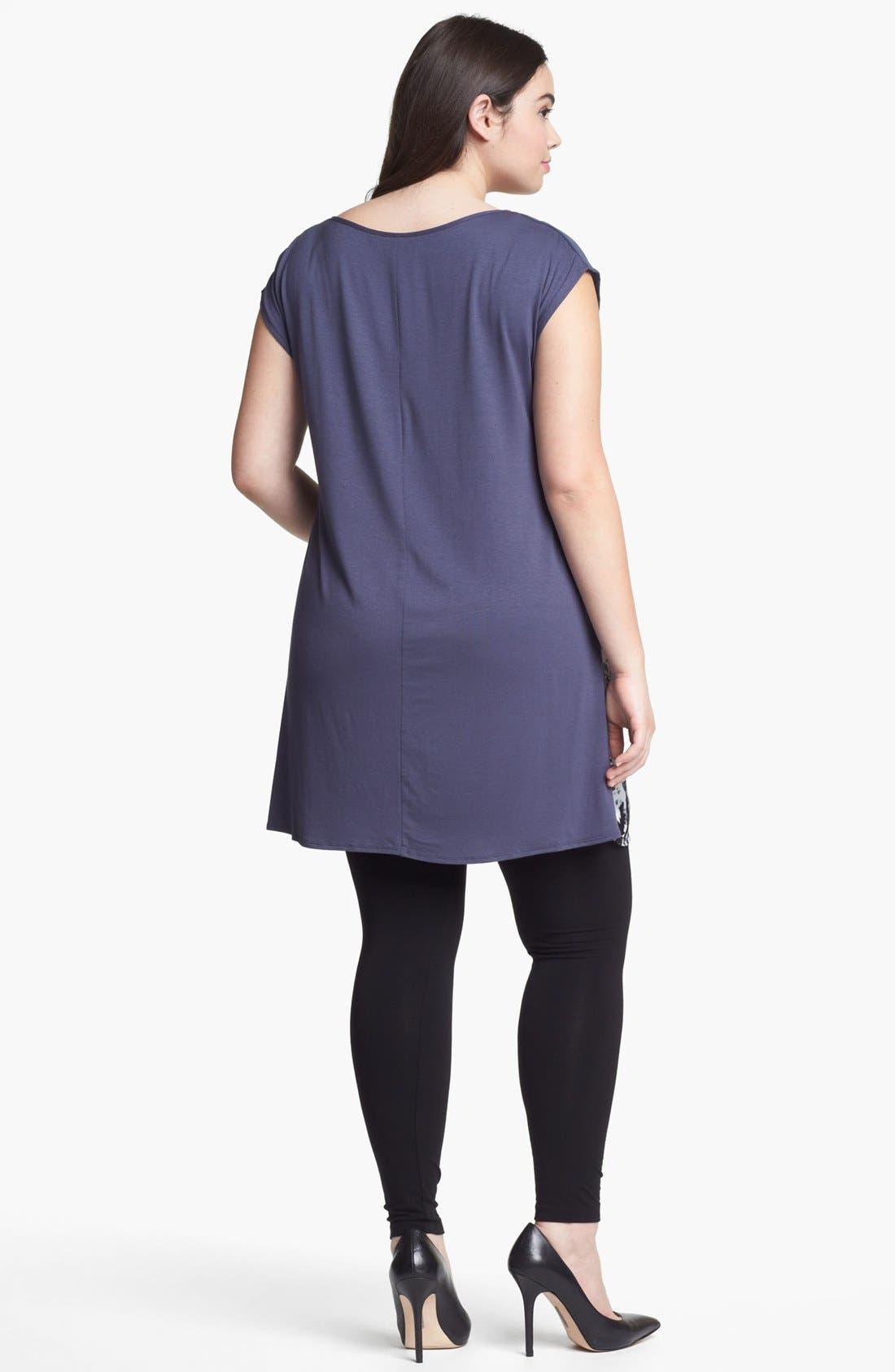 Alternate Image 2  - Evans Print Cap Sleeve Tunic (Plus Size)