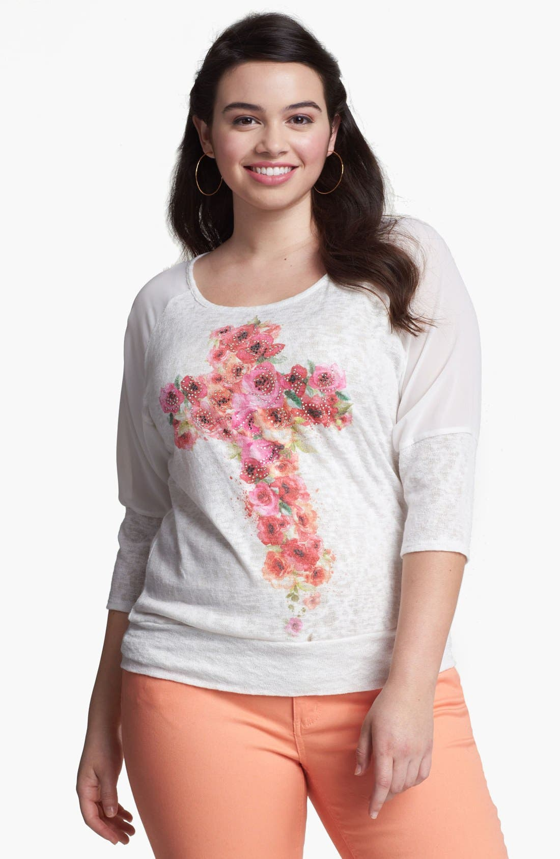 Main Image - Painted Threads Floral Cross Top (Juniors Plus)