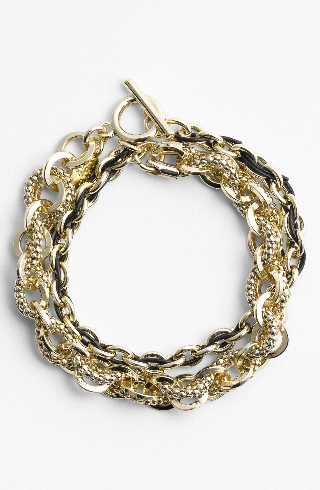Main Image - Cara Link & Leather Double Wrap Bracelet