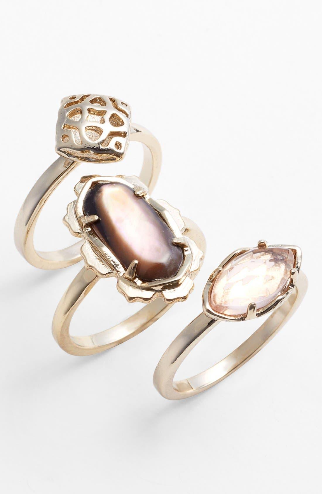 Main Image - Kendra Scott 'Isha' Mixed Stone Rings (Set of 3)