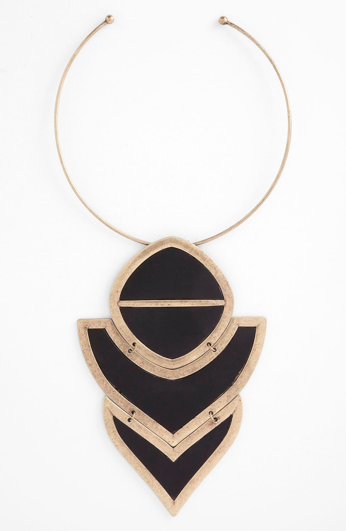 Main Image - Carbon Copy 'Leather Plate' Statement Necklace