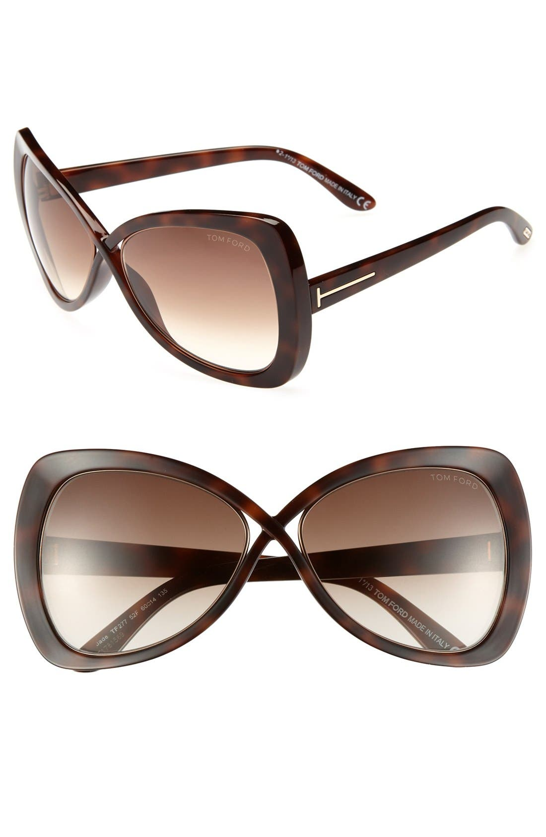 Main Image - Tom Ford 60mm 'Jade' Sunglasses