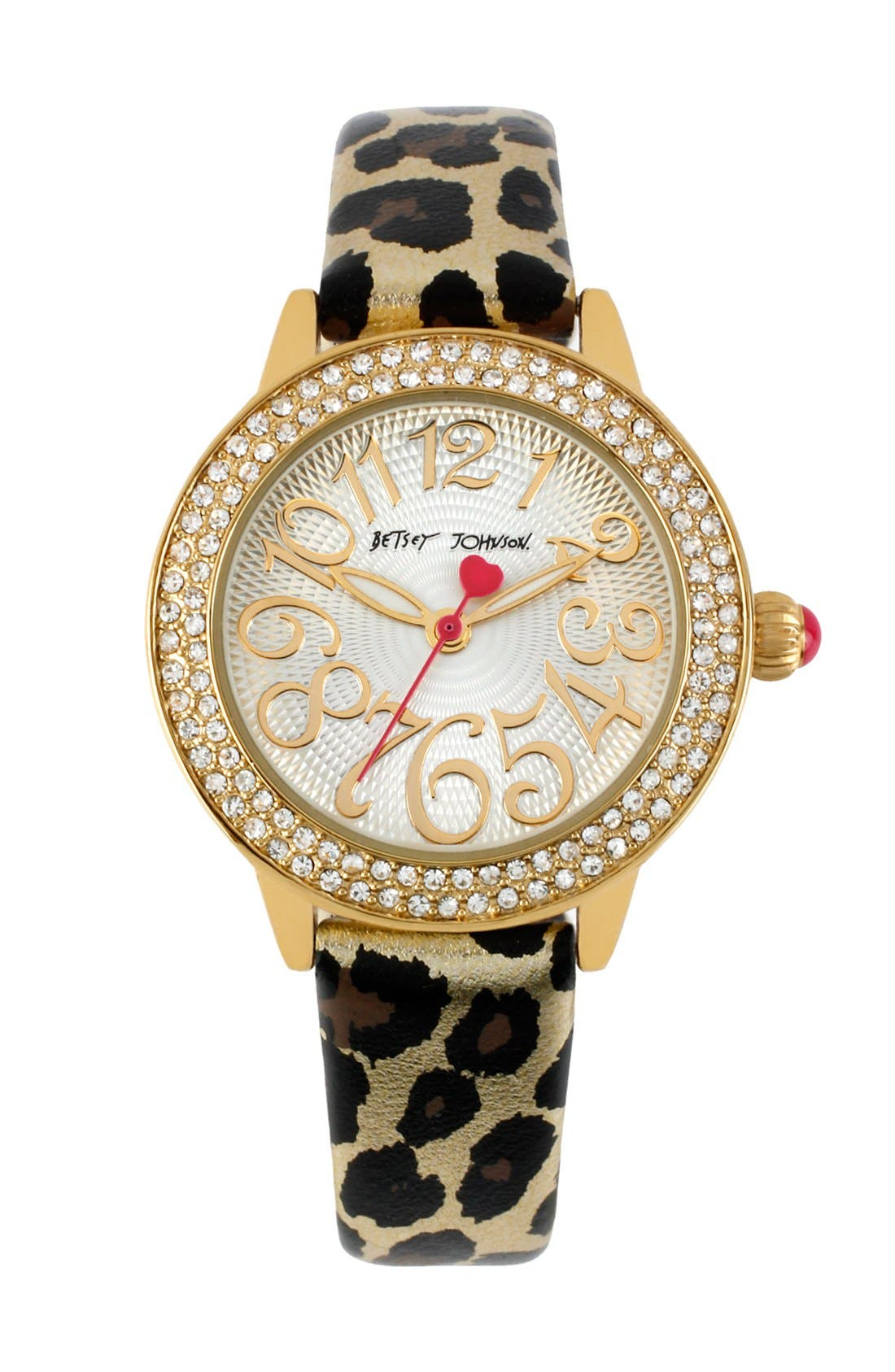 Main Image - Betsey Johnson Crystal Bezel & Metallic Strap Watch, 32mm