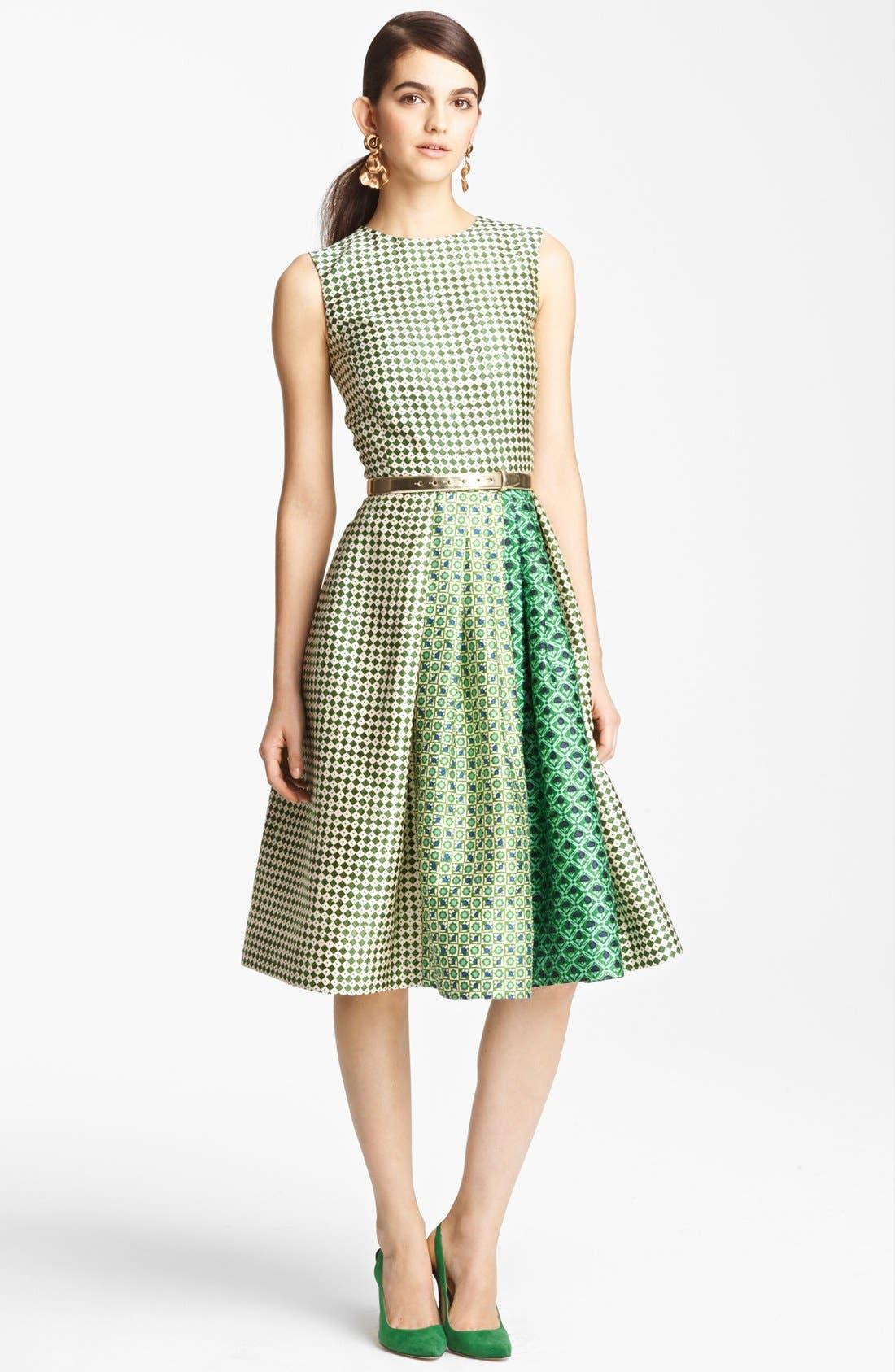 Alternate Image 1 Selected - Oscar de la Renta Print Full Skirt Dress