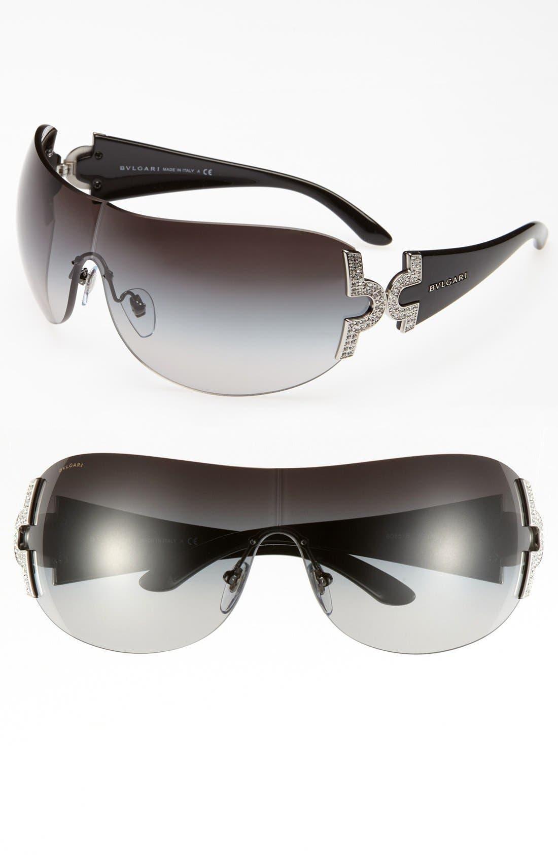 BVLGARI 39mm Embellished Temple Shield Sunglasses