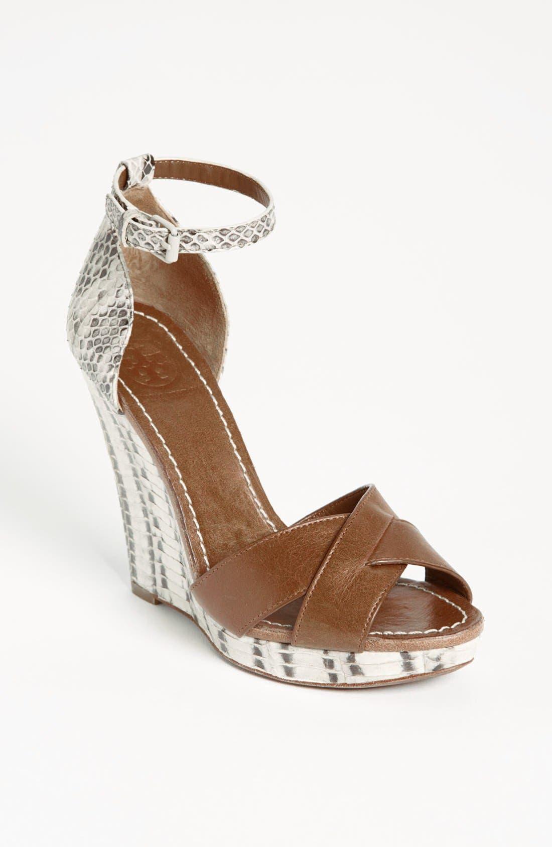 Alternate Image 1 Selected - Tory Burch 'Livia' Genuine Snakeskin Wedge Sandal