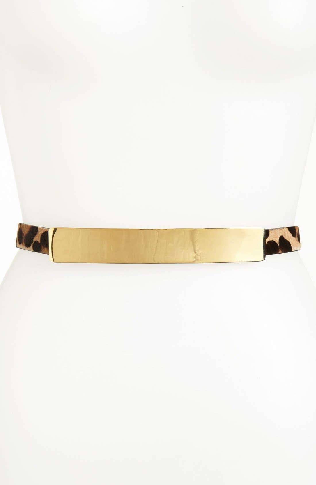 Main Image - St. John Collection Light Gold Buckle Calf Hair Belt