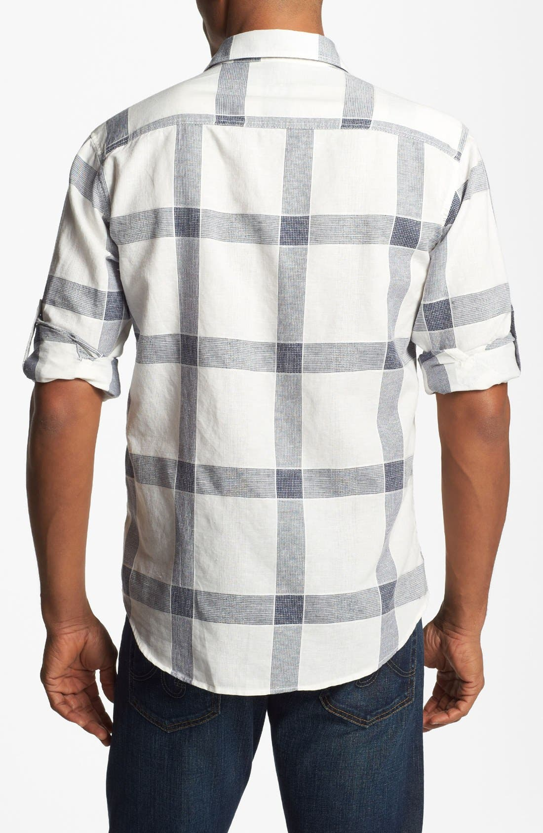 Alternate Image 2  - BUGATCHI Shaped Fit Linen Blend Sport Shirt (Tall)