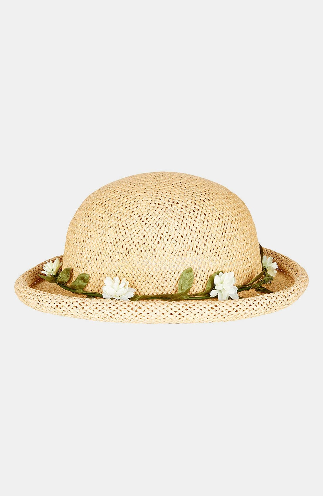Alternate Image 1 Selected - Topshop Straw Bowler Hat