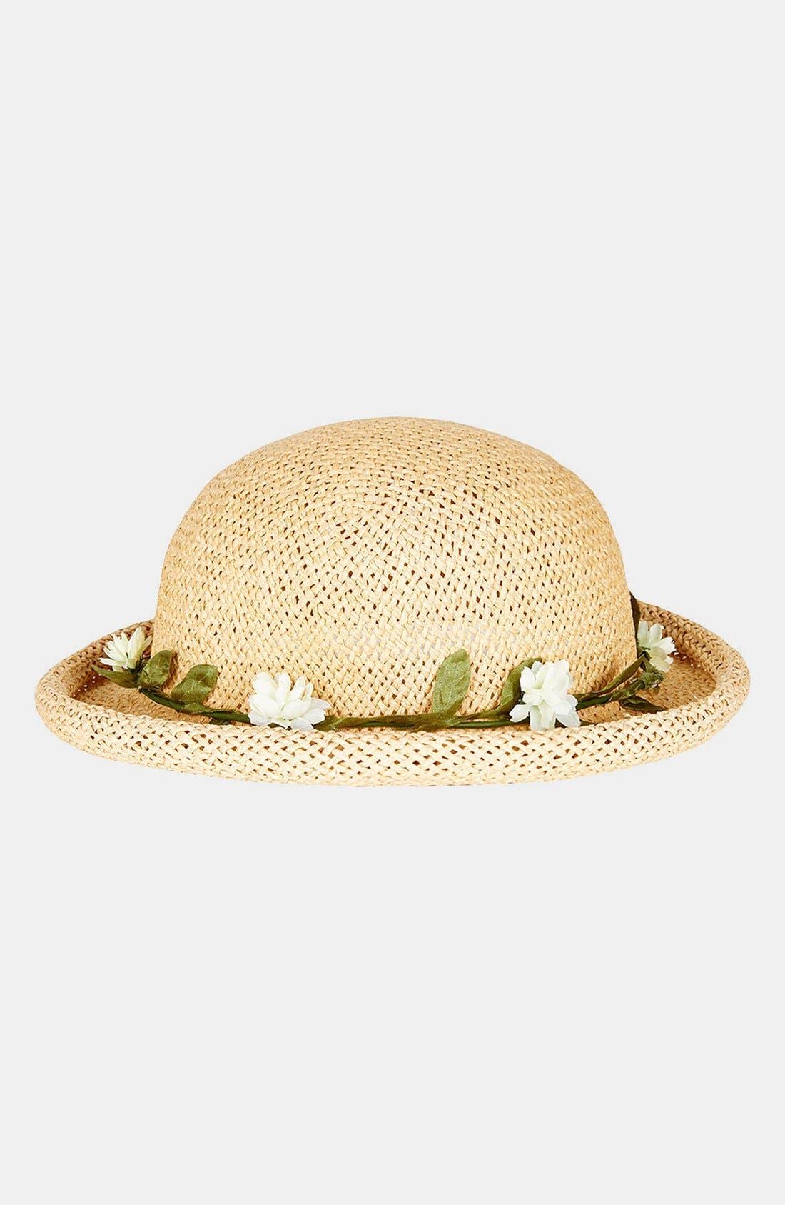 Main Image - Topshop Straw Bowler Hat