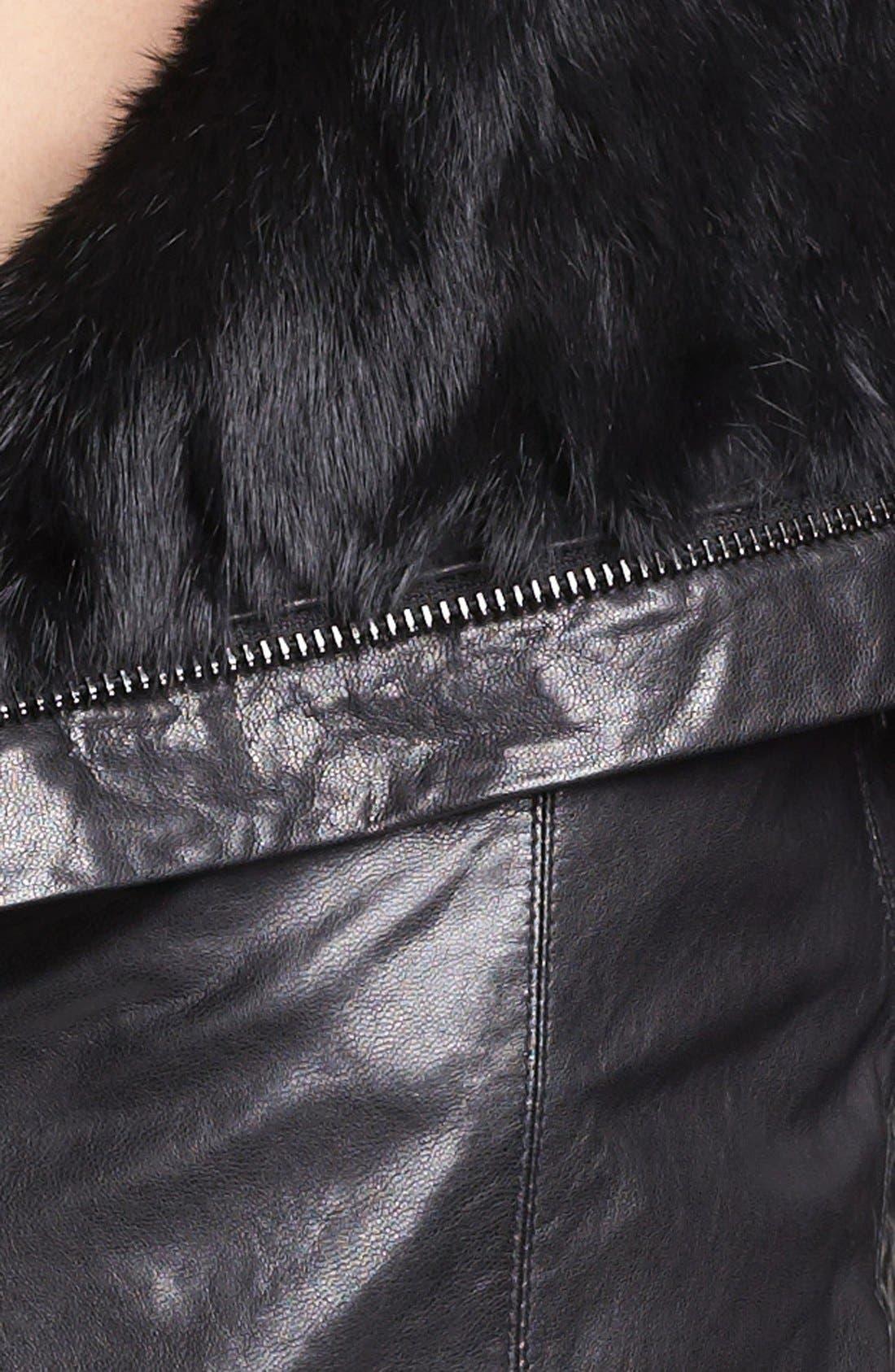 Alternate Image 3  - Rudsak Genuine Rabbit Fur Trim Leather Jacket