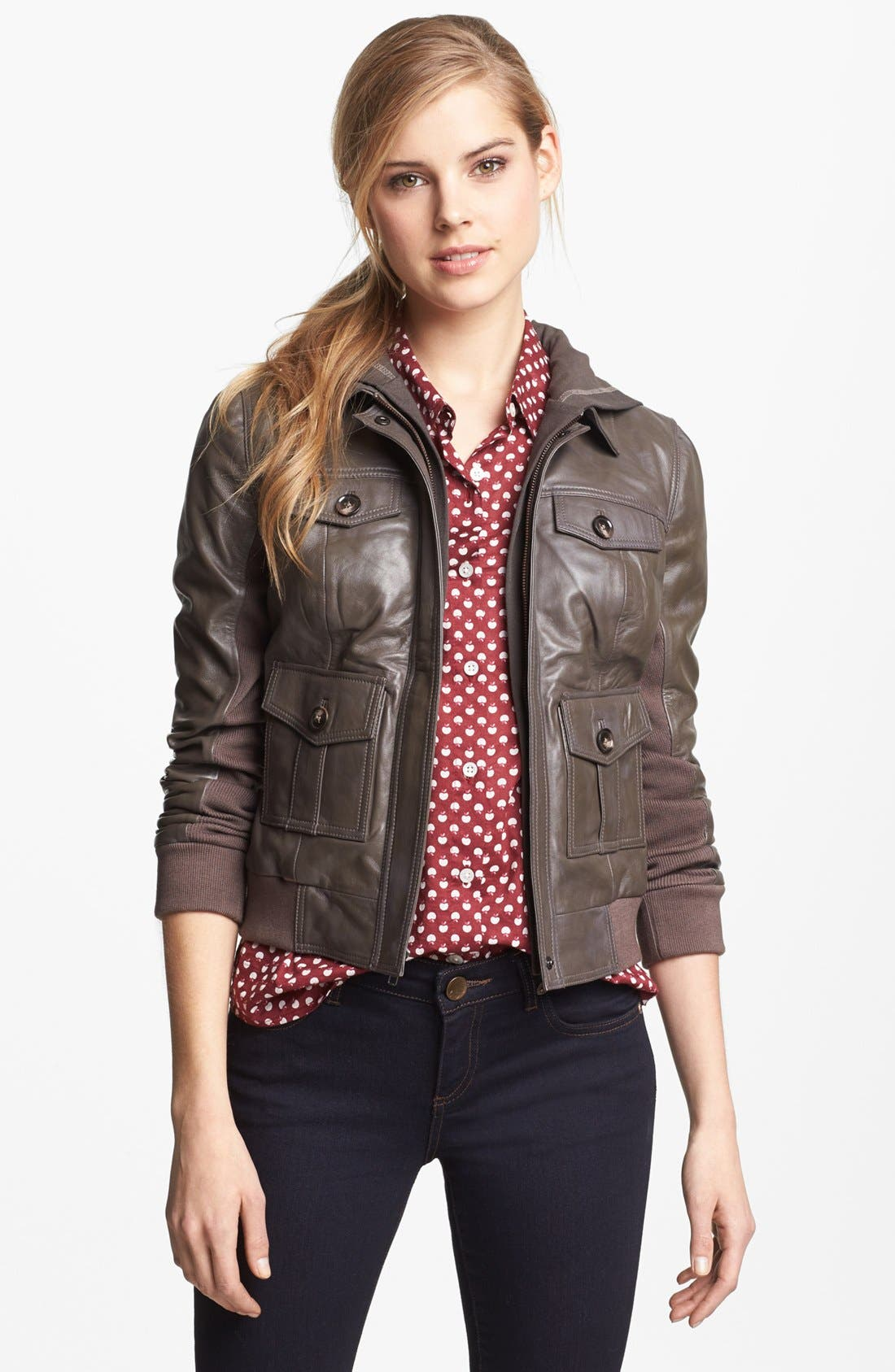 Hooded Leather Jacket,                         Main,                         color, Brown Iron