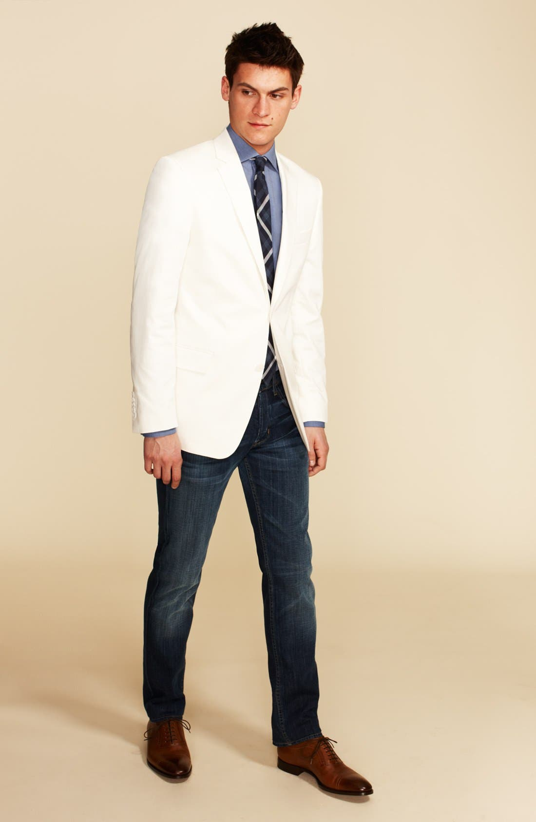 Main Image - John Varvatos Star USA Blazer, 1901 Dress Shirt & Hudson Jeans Straight Leg Jeans