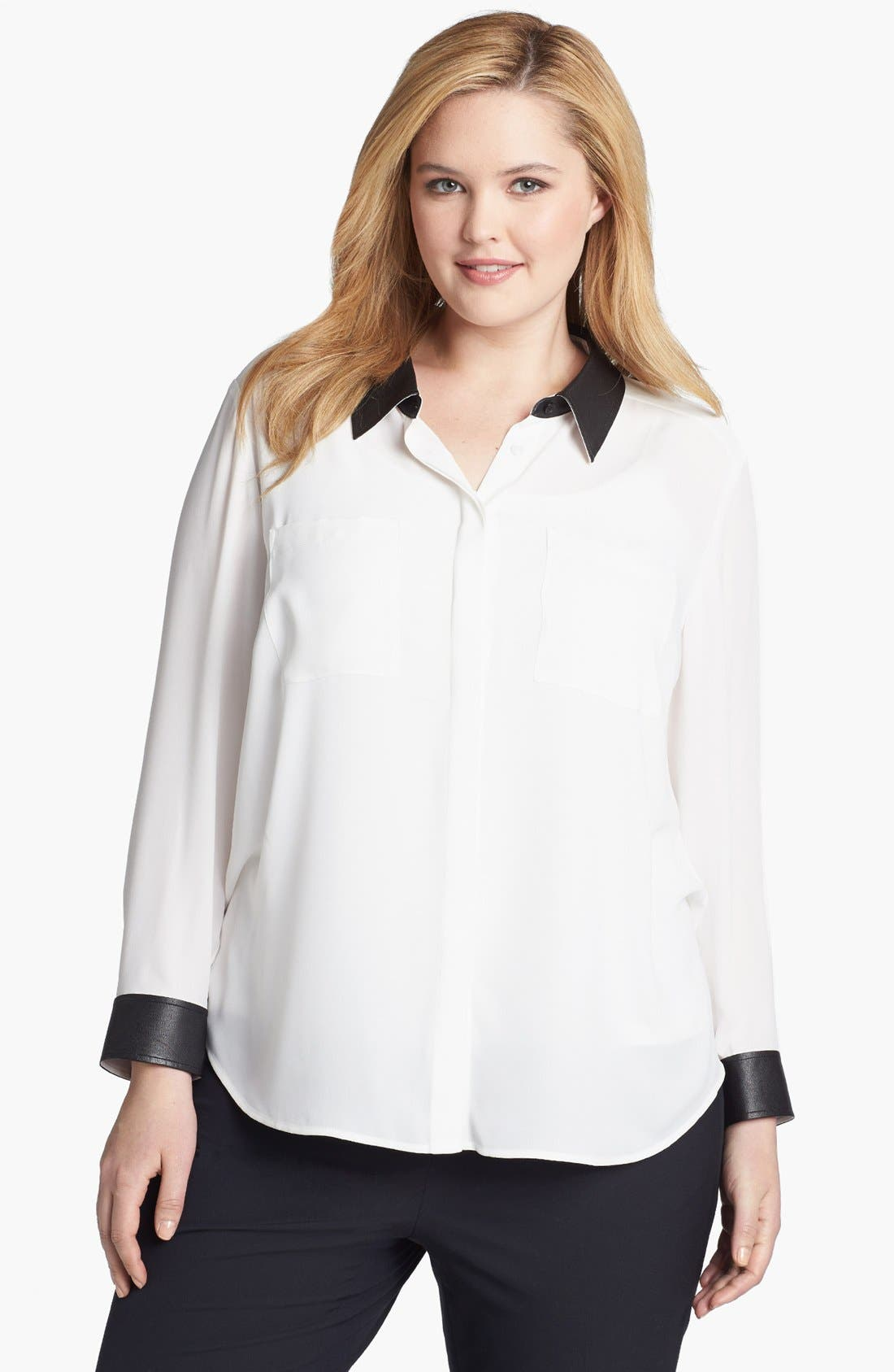 Alternate Image 1 Selected - Halogen® Faux Leather Trim Blouse (Plus Size) (Online Only)
