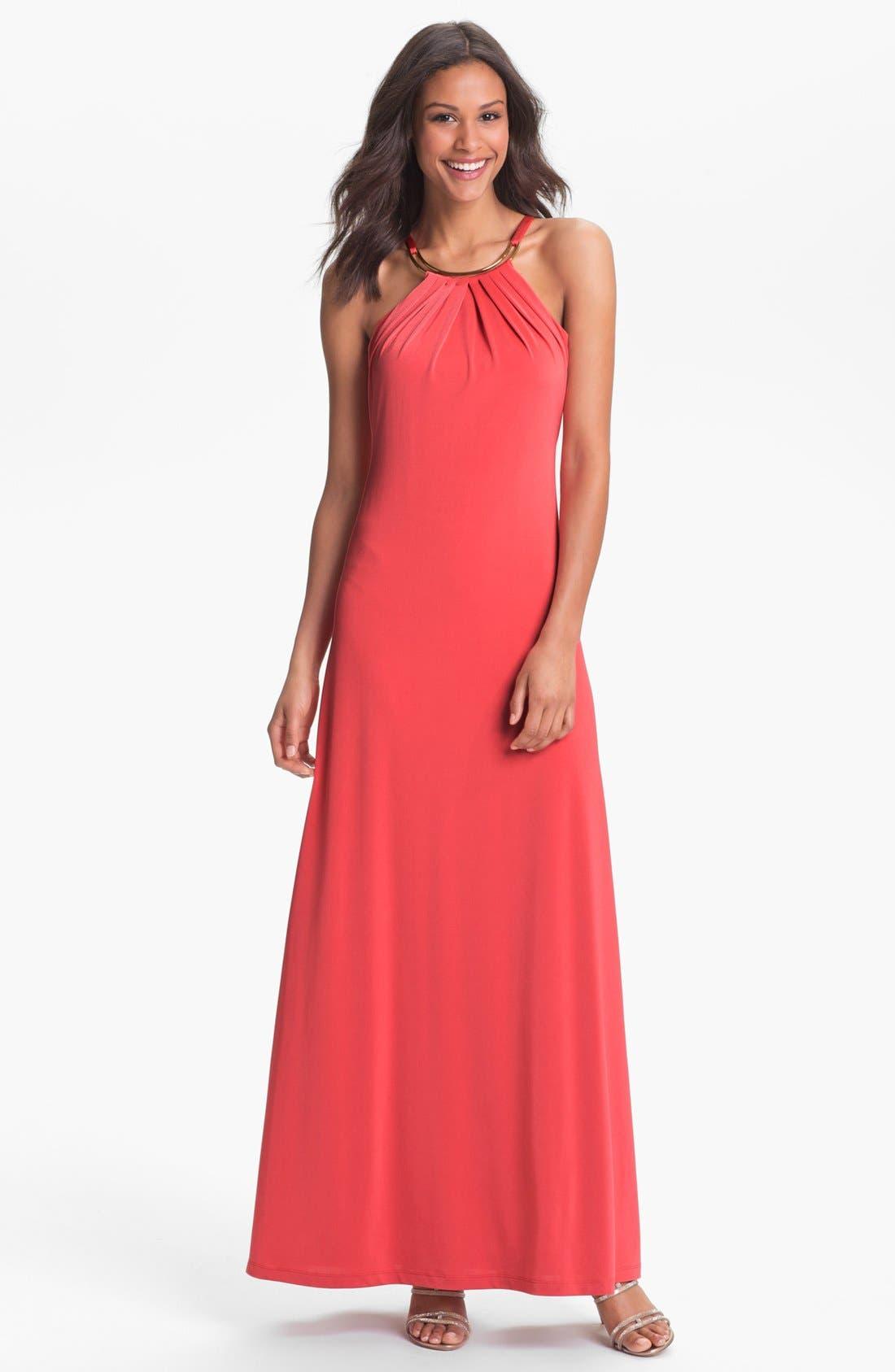 Main Image - Calvin Klein Pleated Cutaway Jersey Dress