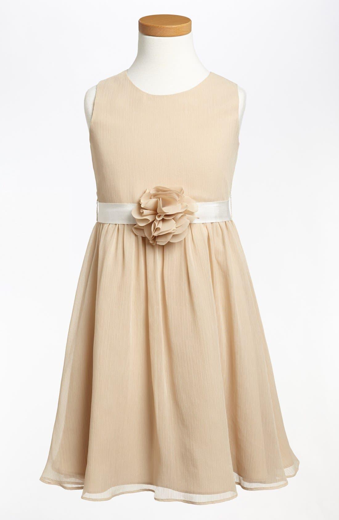 Sleeveless Chiffon Dress,                             Main thumbnail 1, color,                             Champagne