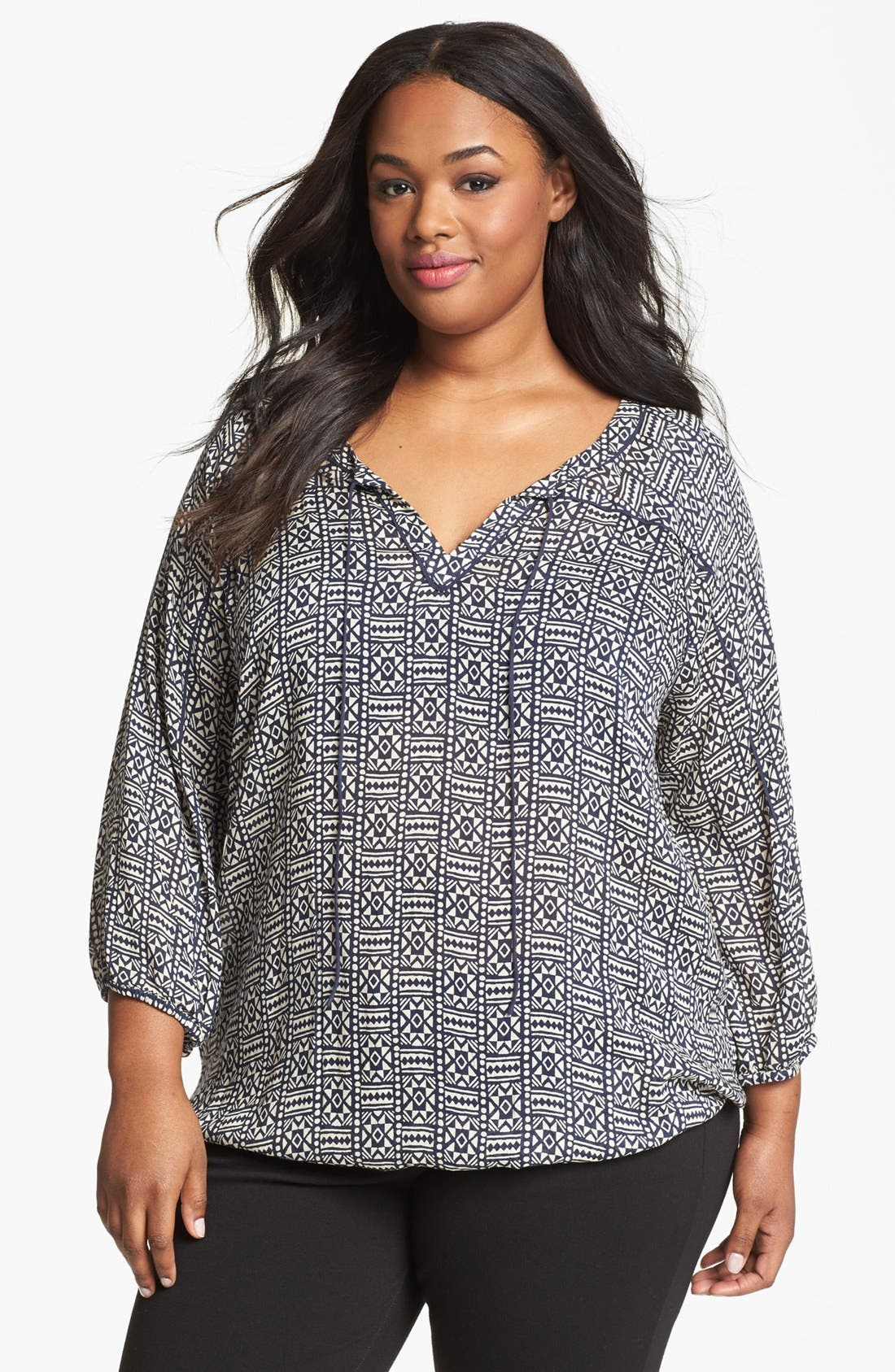 Alternate Image 1 Selected - Lucky Brand 'John Robshaw - Joplin' Print Peasant Top (Plus Size)