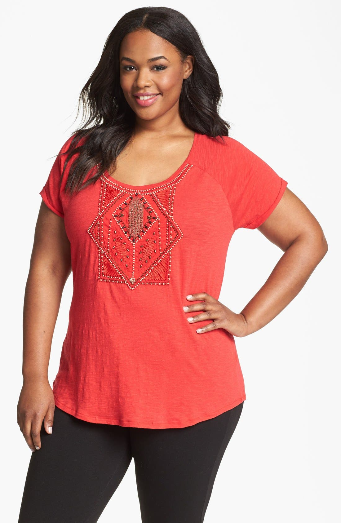 Main Image - Lucky Brand 'Avani' Embellished Cotton Tee (Plus Size)