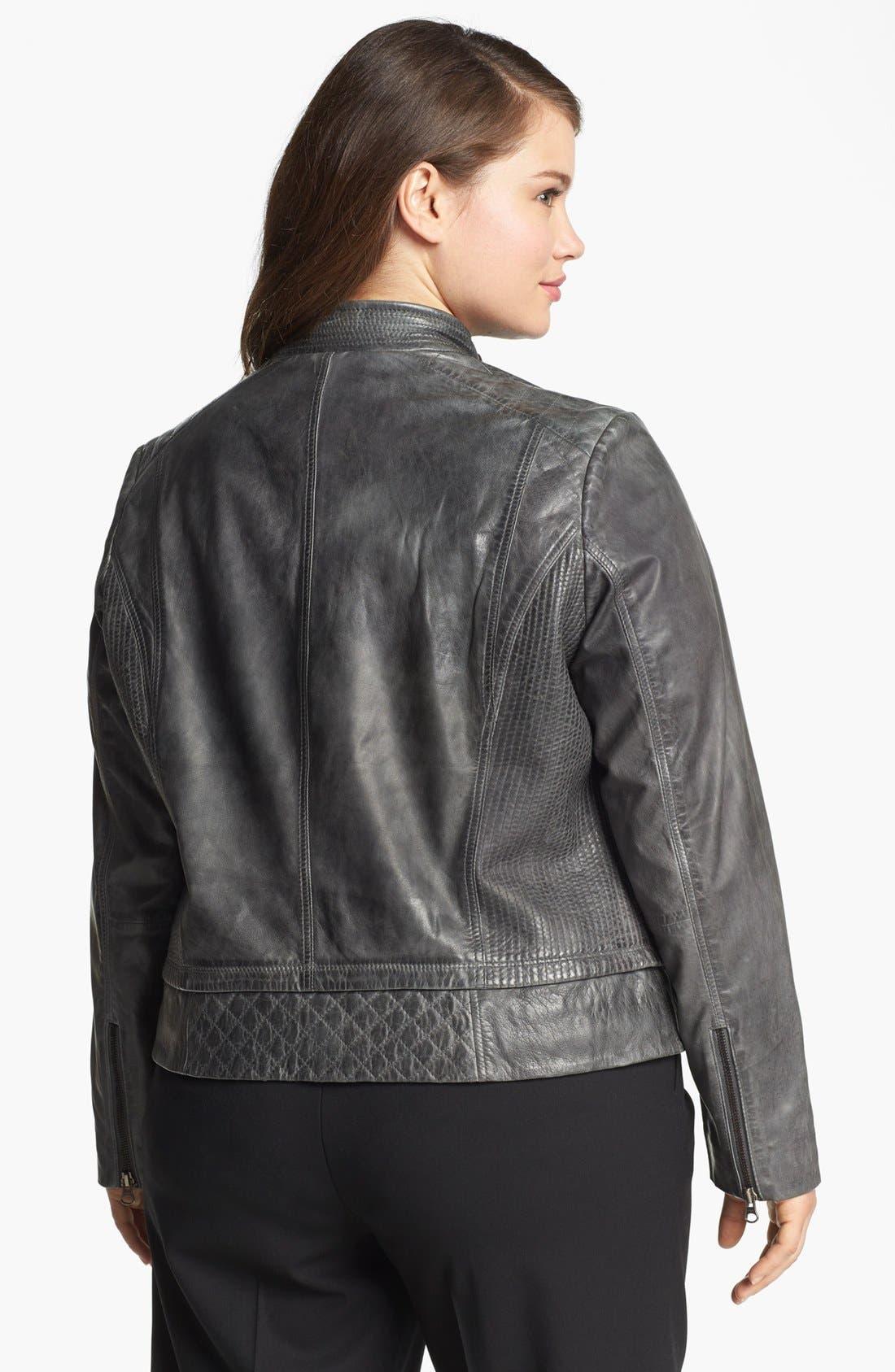 Alternate Image 2  - Bernardo Quilt Trim Leather Scuba Jacket (Plus Size)