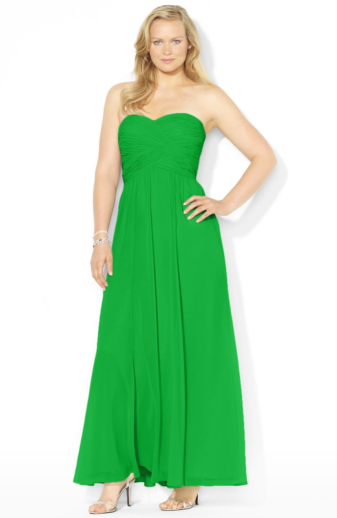 Alternate Image 2  - Lauren Ralph Lauren Pleated Georgette Gown (Plus Size)
