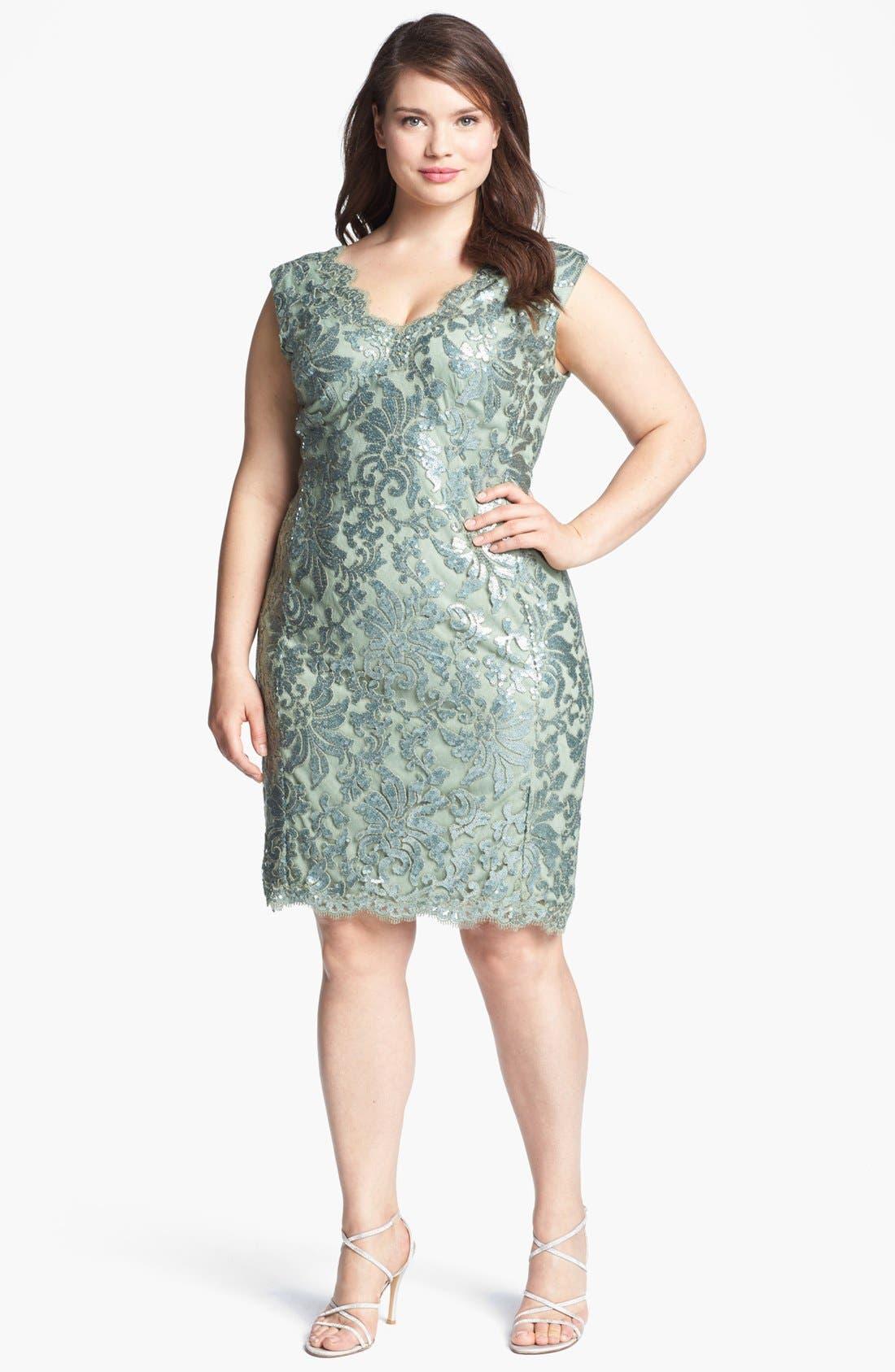 Alternate Image 1 Selected - Tadashi Shoji Sequin Overlay Sheath Dress (Plus Size)
