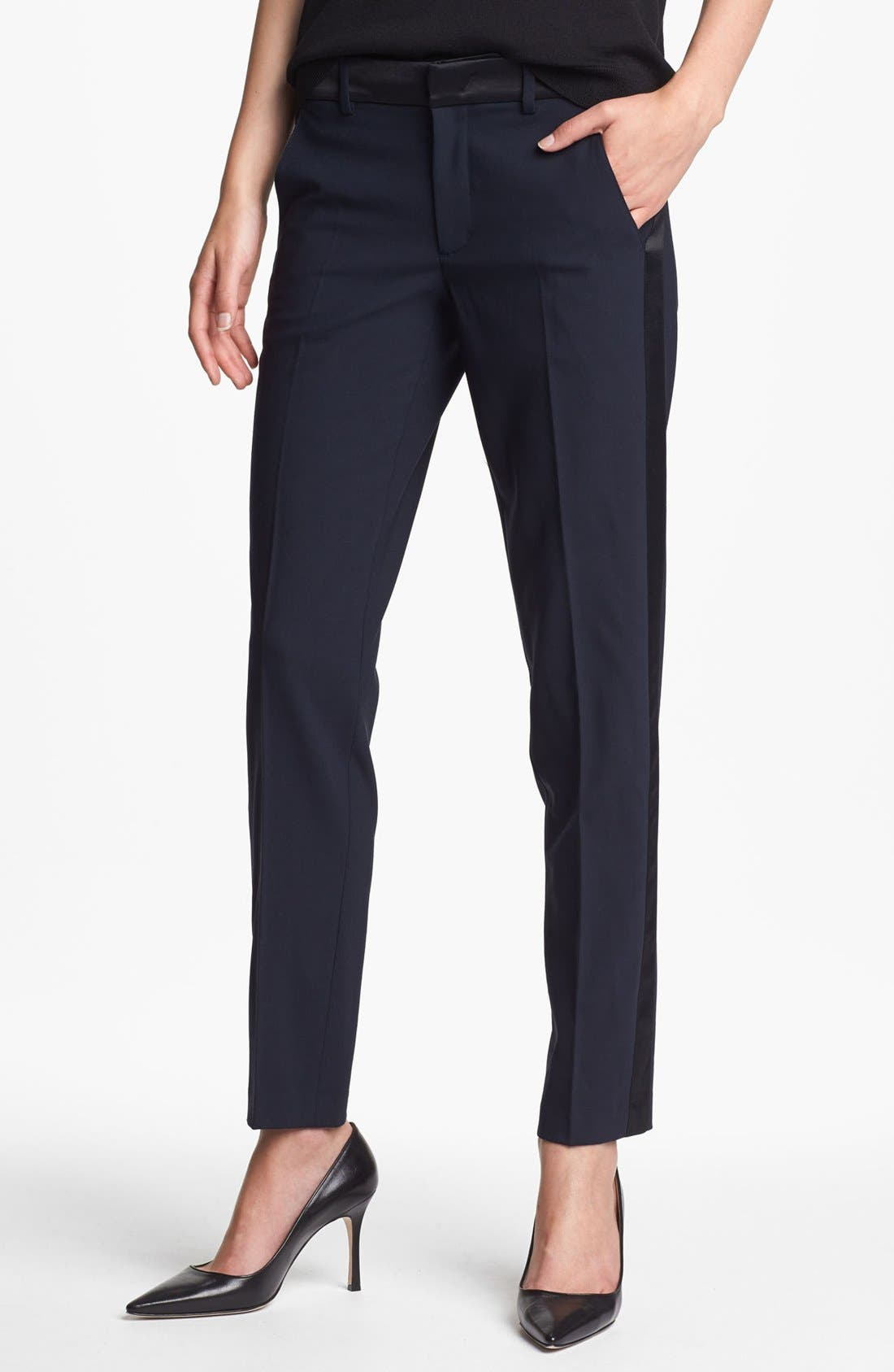 Main Image - Vince 'Strapping' Stretch Wool Tuxedo Pants