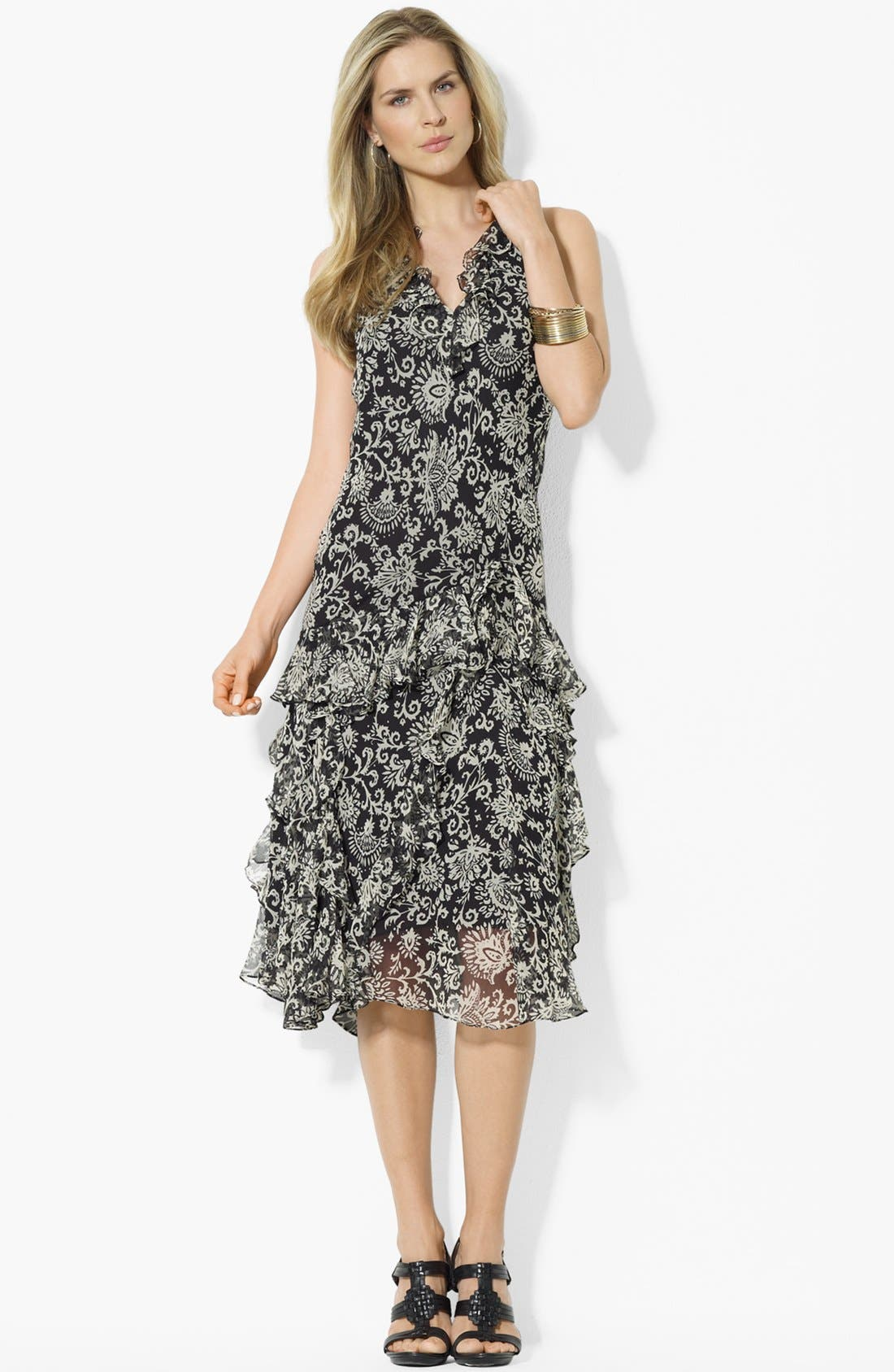 Main Image - Lauren Ralph Lauren Ruffled V-Neck Dress (Petite)