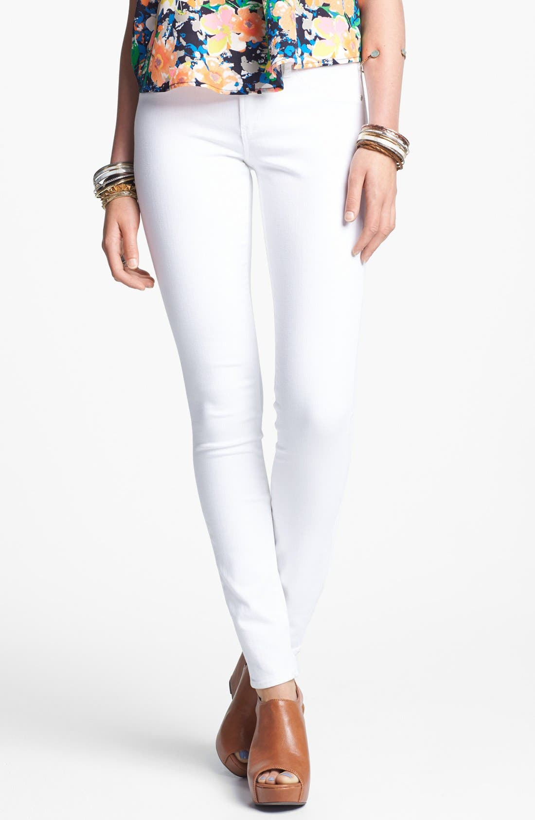 'Mya' Skinny Jeans,                         Main,                         color, White